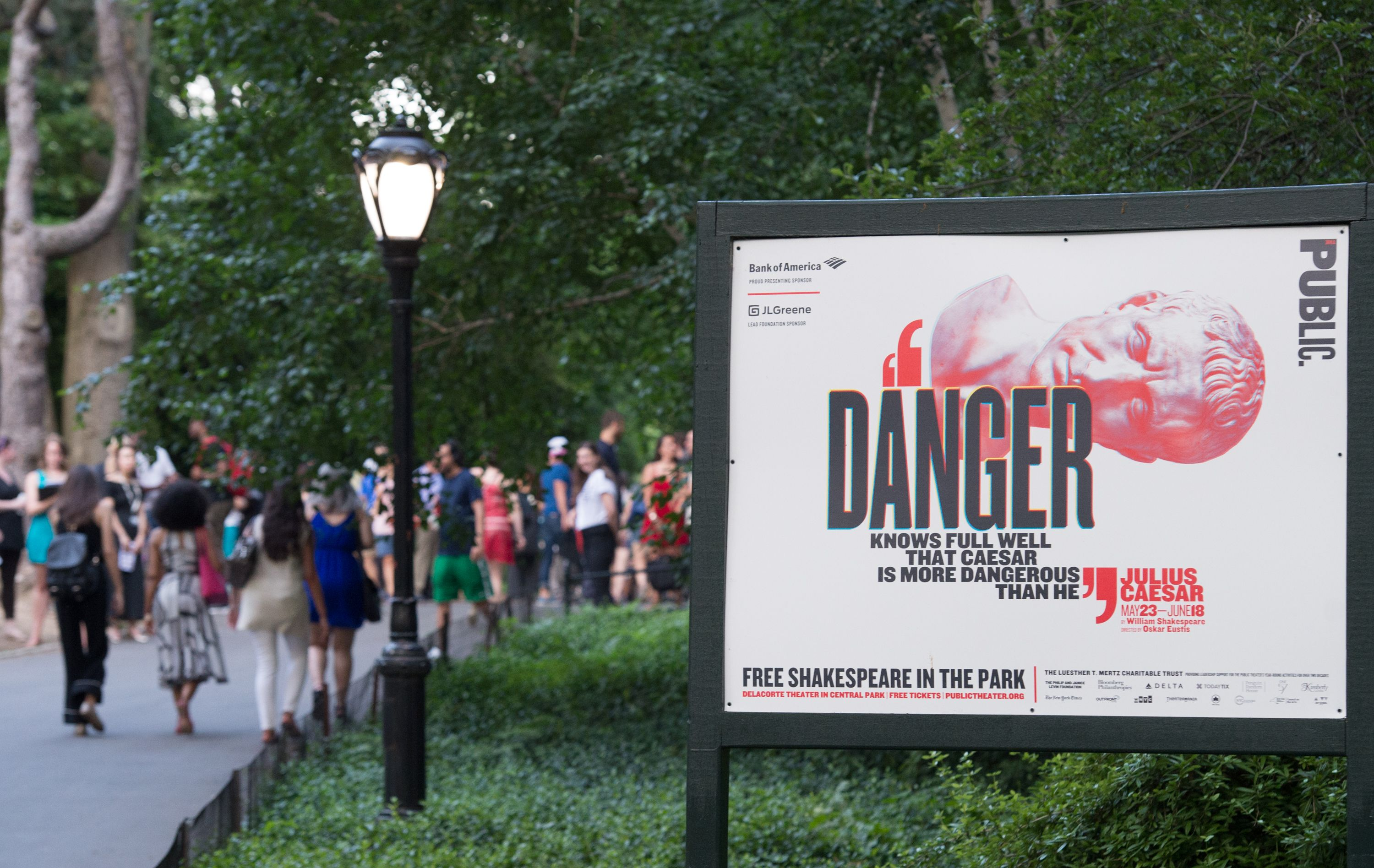 People arrive for the opening night of Shakespeare in the Park's production of Julius Caesar at Central Park's Delacorte Theater on June 12, 2017 in New York.                     A New York production of Shakespeare's  Julius Caesar  drawing parallels between the assassinated Roman ruler and Donald Trump was in the eye of a growing storm, abandoned by corporate sponsors and sparking debate about freedom of expression. The play, which first opened in Central Park on May 23 and runs to June 18, has attracted right-wing outrage for similarities between the way Caesar is depicted and the Republican commander-in-chief, who is hugely unpopular in New York.                      / AFP PHOTO / Bryan R. Smith        (Photo credit should read BRYAN R. SMITH/AFP/Getty Images)