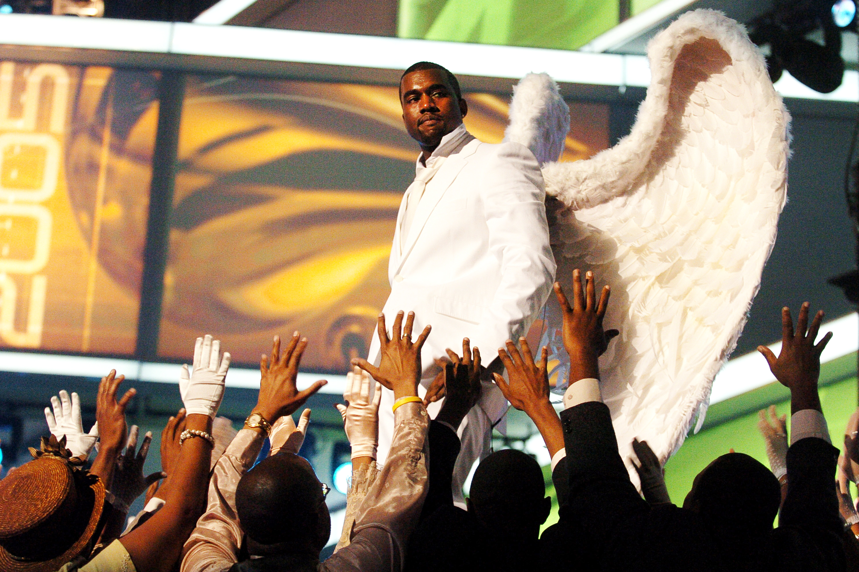 Kanye West performs  Jesus Walks  at the 47th Annual Grammy Awards, on Feb. 13, 2005.