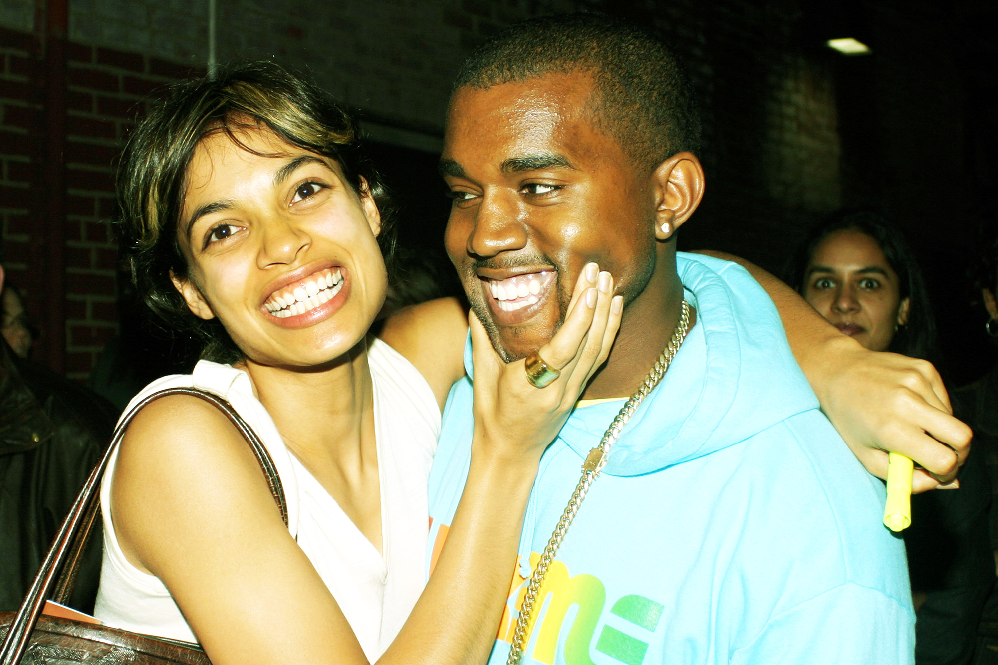 Rosario Dawson and Kanye West in New York City, on June 9, 2003.