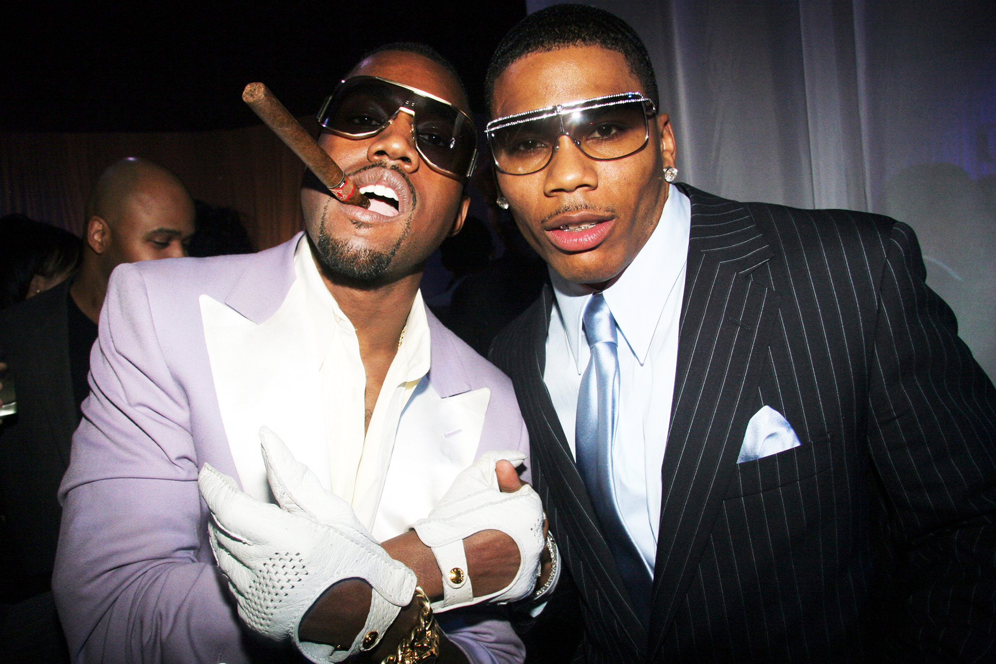 Kanye West and Nelly during Kanye West's Grammy afterparty in Hollywood, Calif., on Feb. 08, 2006.