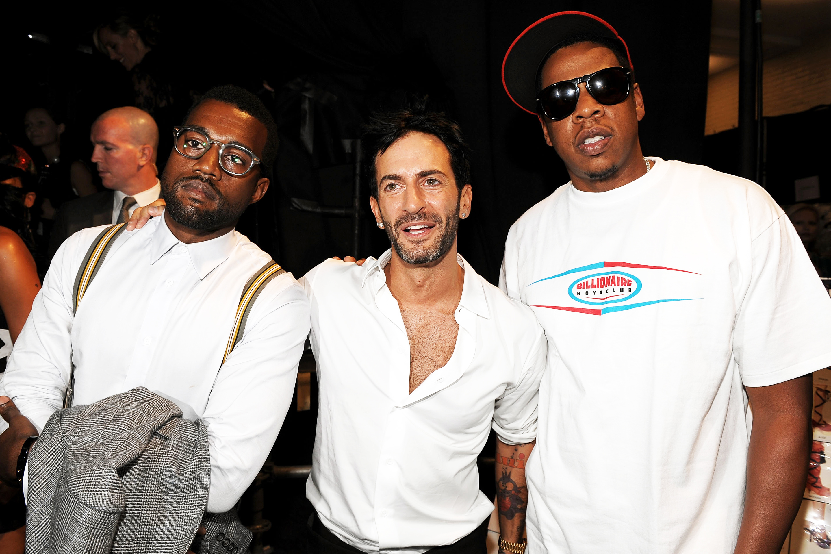 From left: Kanye West, Marc Jacobs and rapper Jay Z at Marc Jacobs Spring '09 Fashion Show at Park Avenue Armory in New York City, on Sept. 8, 2008.