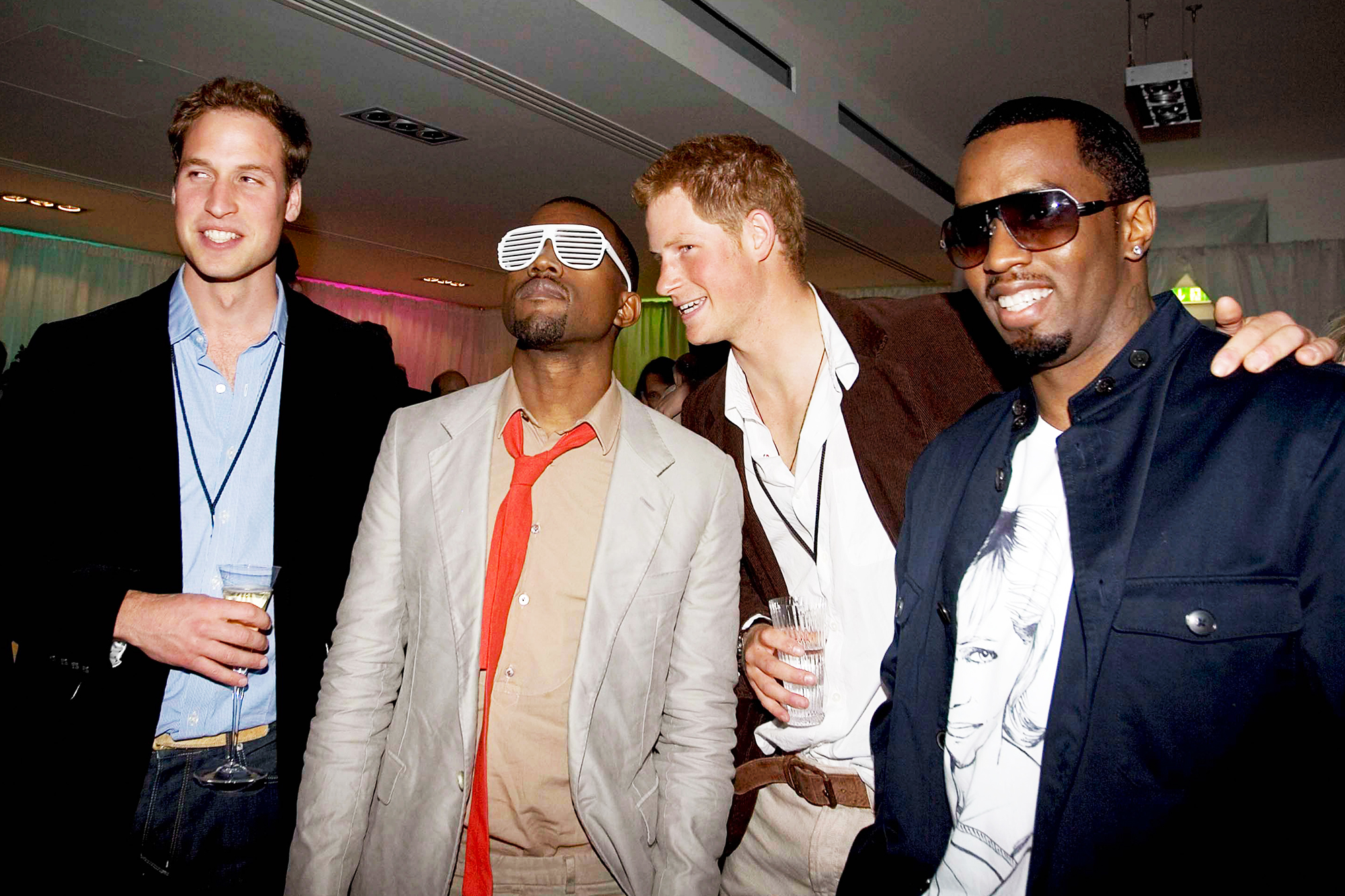 From left: Prince William, Kanye West, Prince Harry and P. Diddy at Wembley Stadium in London, on July 1, 2007.