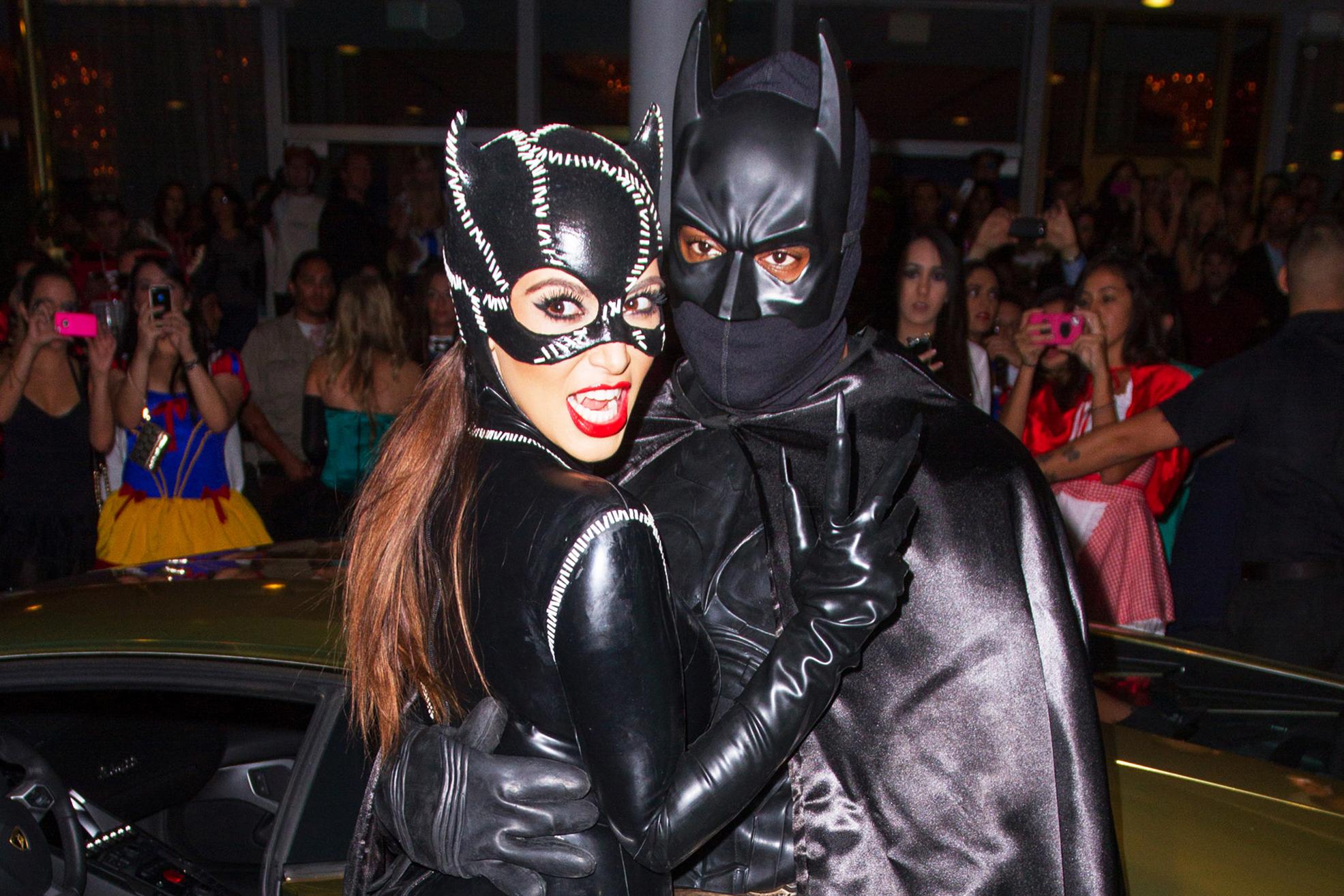 Kim Kardashian and Kanye West arrive at Kim Kardashian's Halloween party in Miami Beach, Fla., on Oct. 31, 2012.