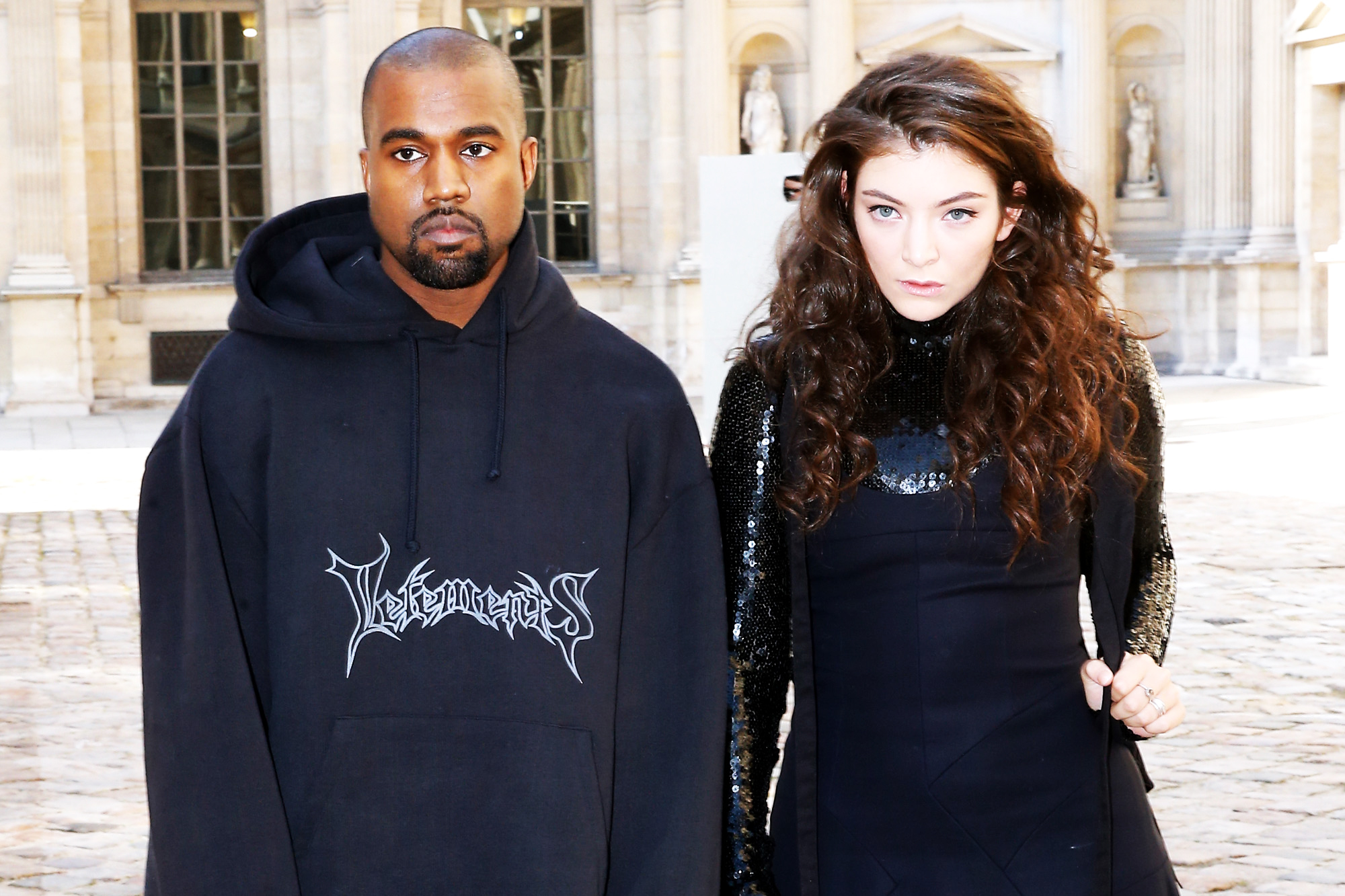Kanye West and Lorde attend the Christian Dior show as part of the Paris Fashion Week Womenswear Fall/Winter 2015/2016 in Paris, on March 6, 2015.