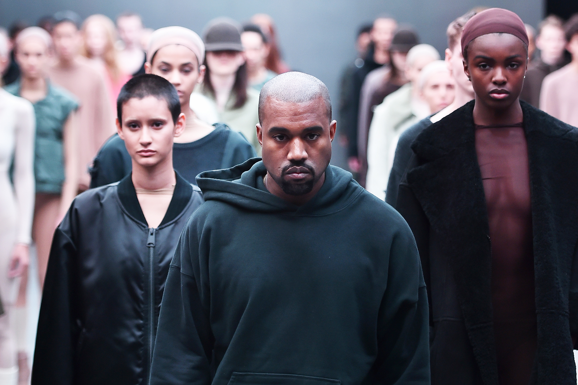 Kanye West on the runway at the Adidas Originals x Kanye West Yeezy Season 1 fashion show during New York Fashion Week Fall 2015 in New York City, on Feb. 12, 2015.