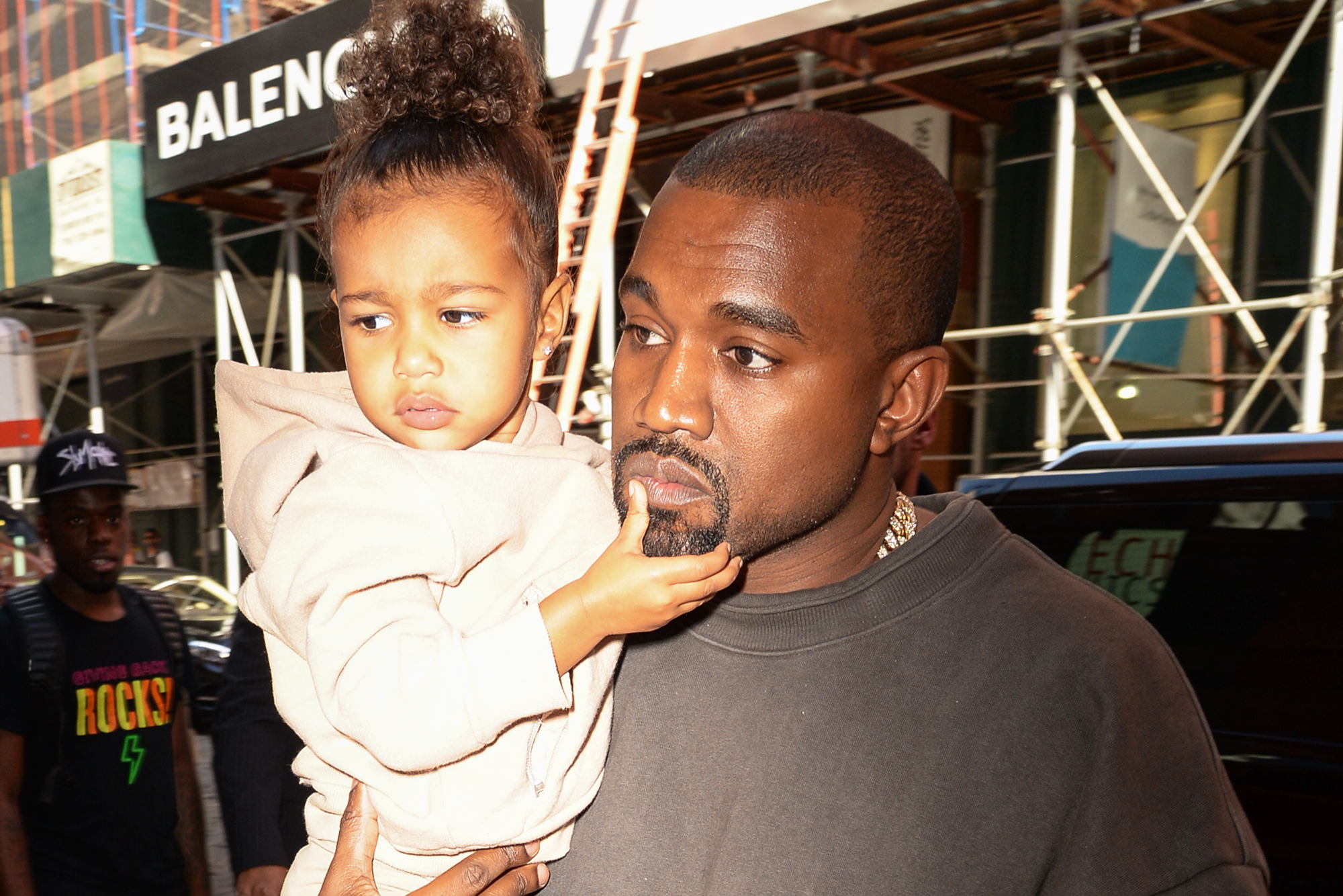 Kanye West and North West in Soho, New York City, on Sept. 16, 2015.