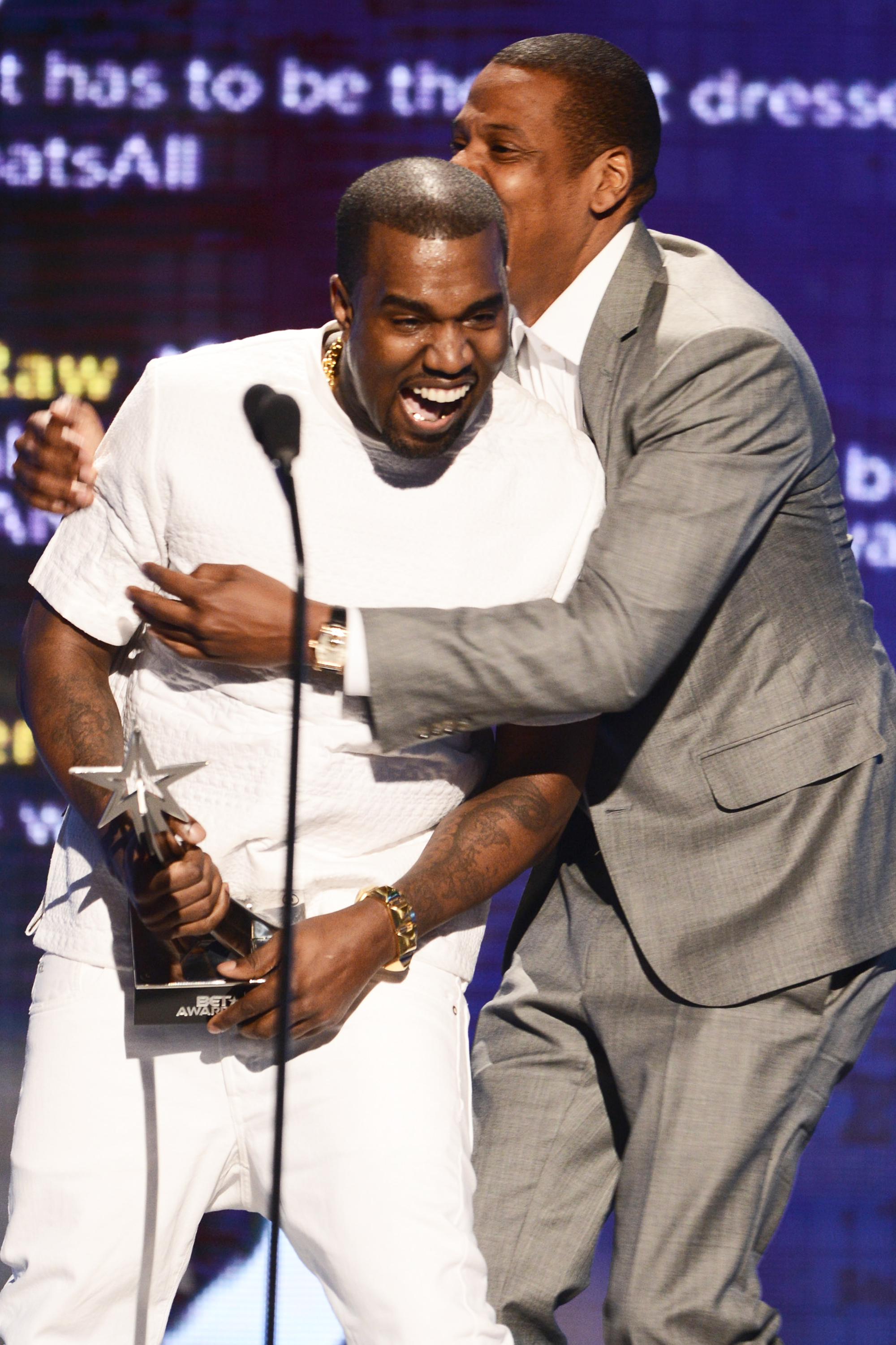 Kanye West and Jay-Z accept the award for Video of the Year onstage during the 2012 BET Awards in Los Angeles, on July 1, 2012.