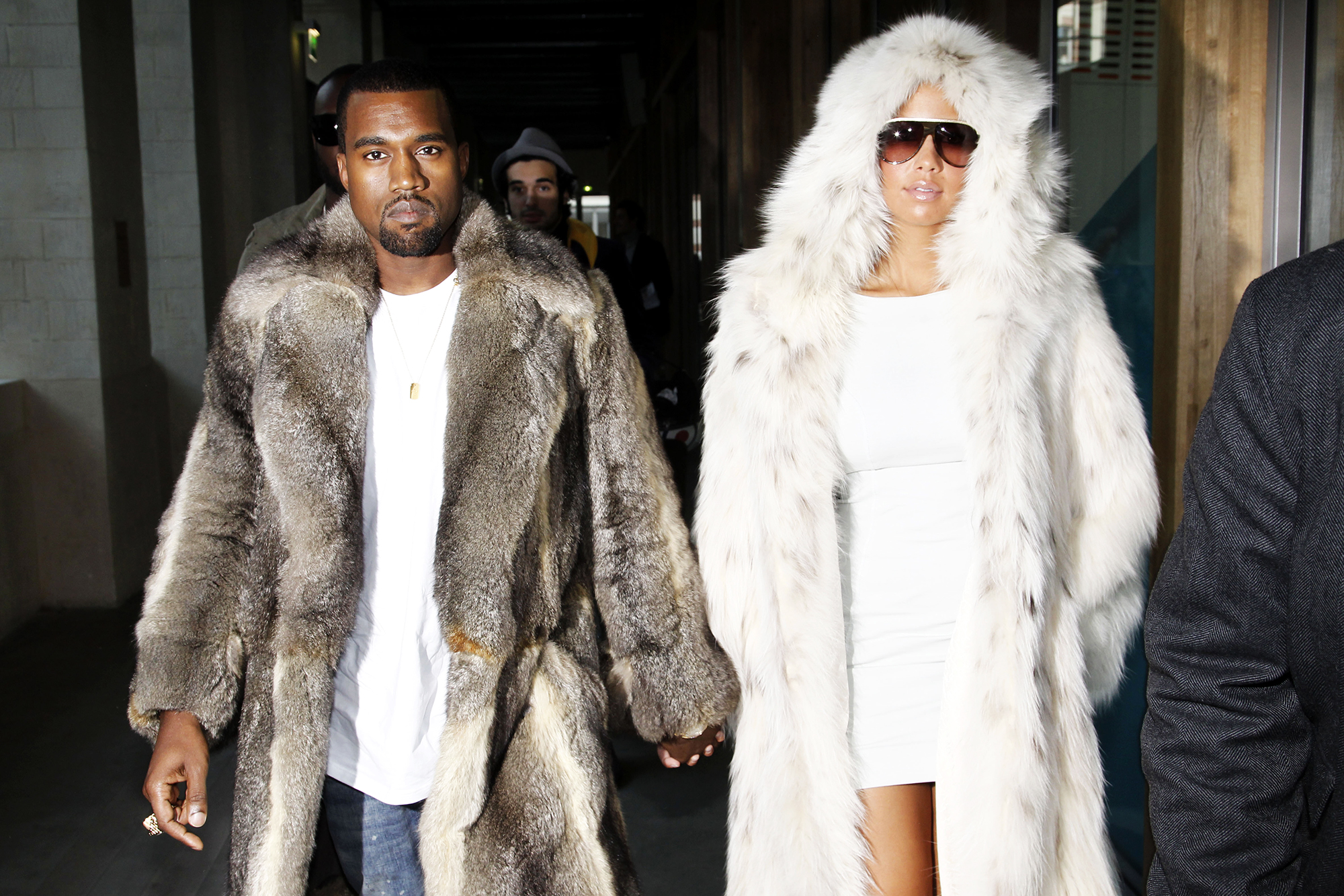 Kanye West and Amber Rose at The Louis Vuitton Fashion Show Autumn Winter 2010-2011 Menswear Collection In Paris, on Jan. 21, 2010.