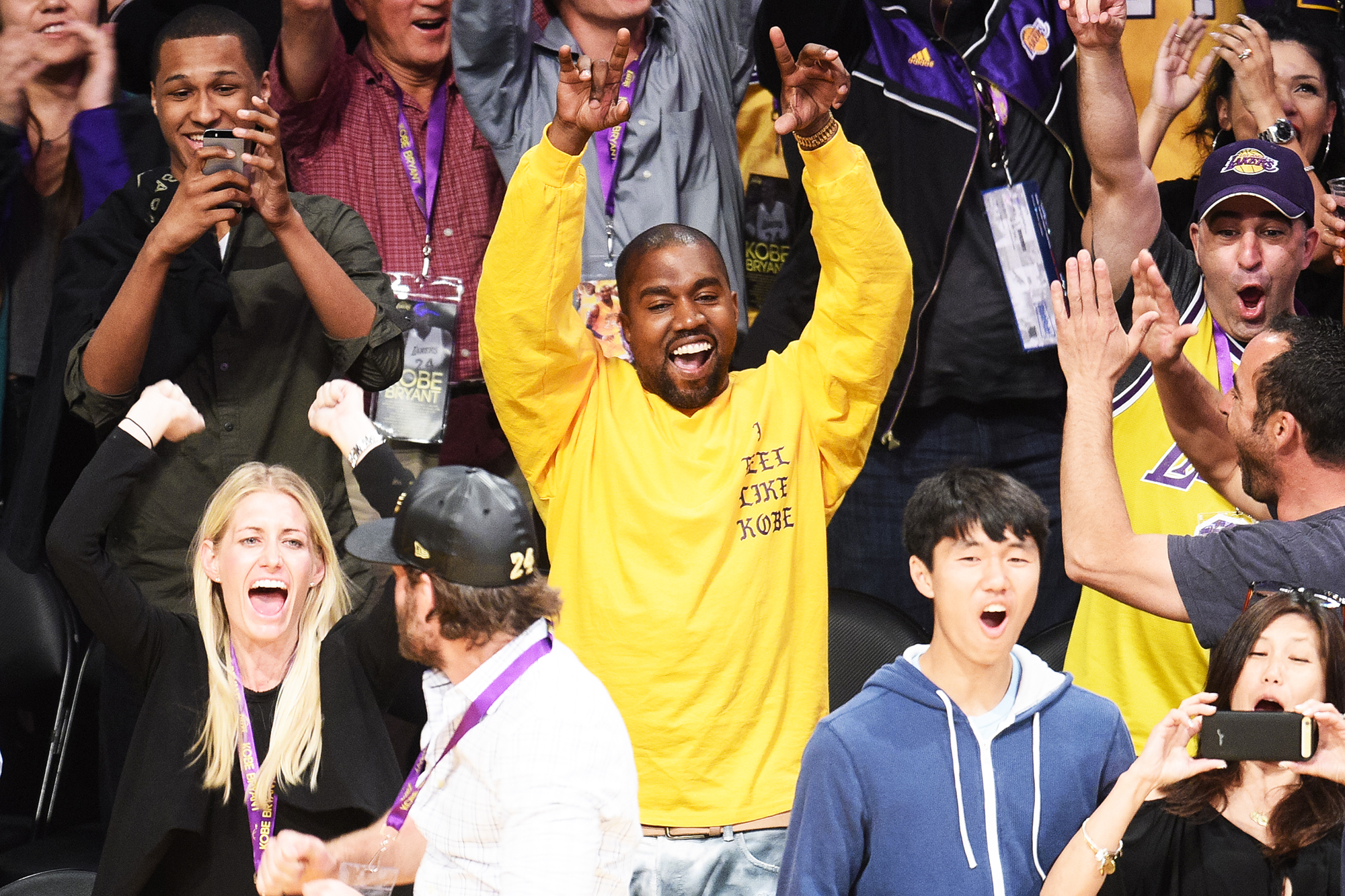 Kanye West attends Kobe Bryant's last game with the Los Angeles Lakers at Staples Center in Los Angeles, on April 13, 2016.
