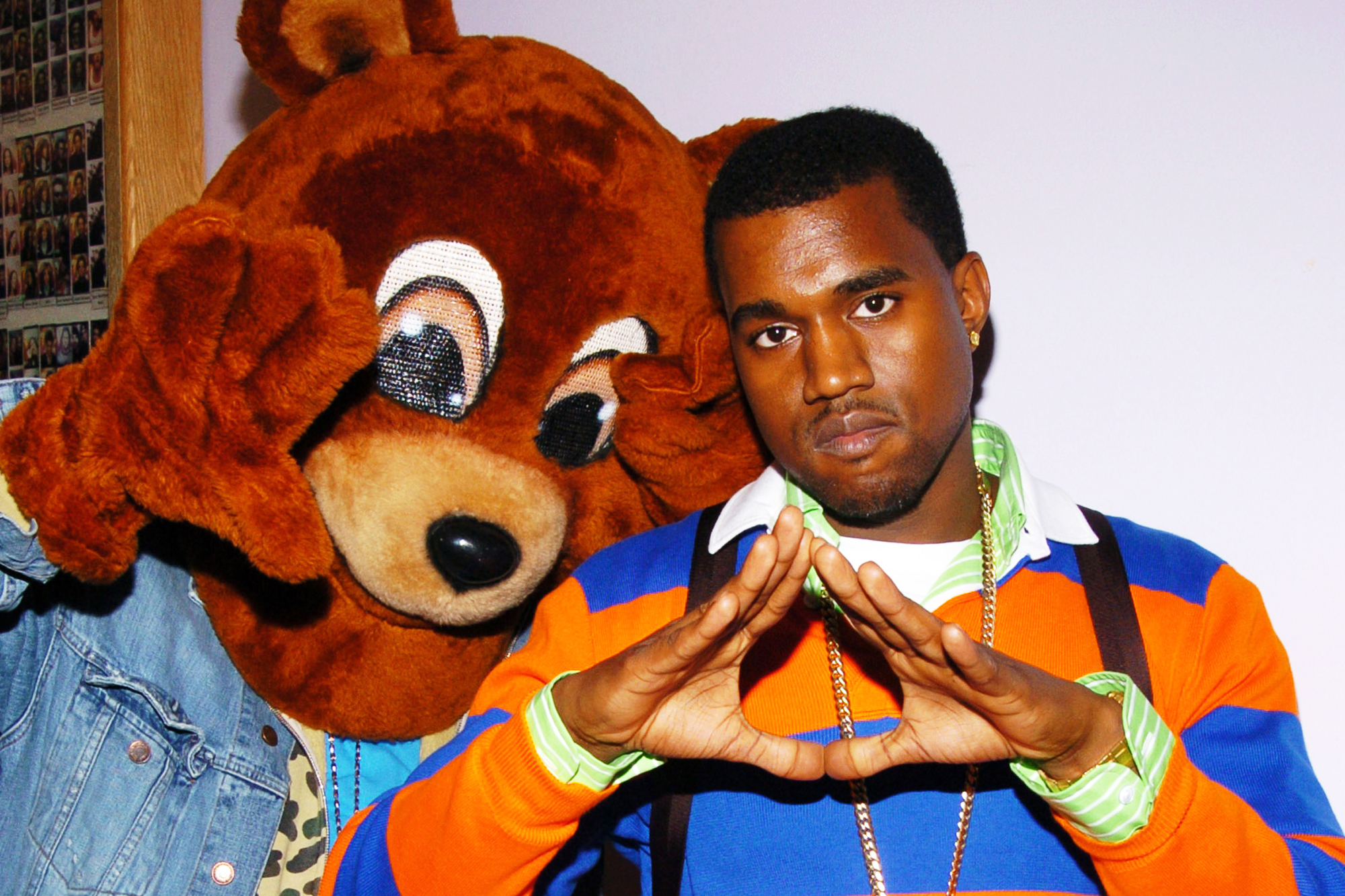 Kanye West and Drop-Out Bear promote The College Dropout at TRL in New York City, on Feb. 10, 2004.