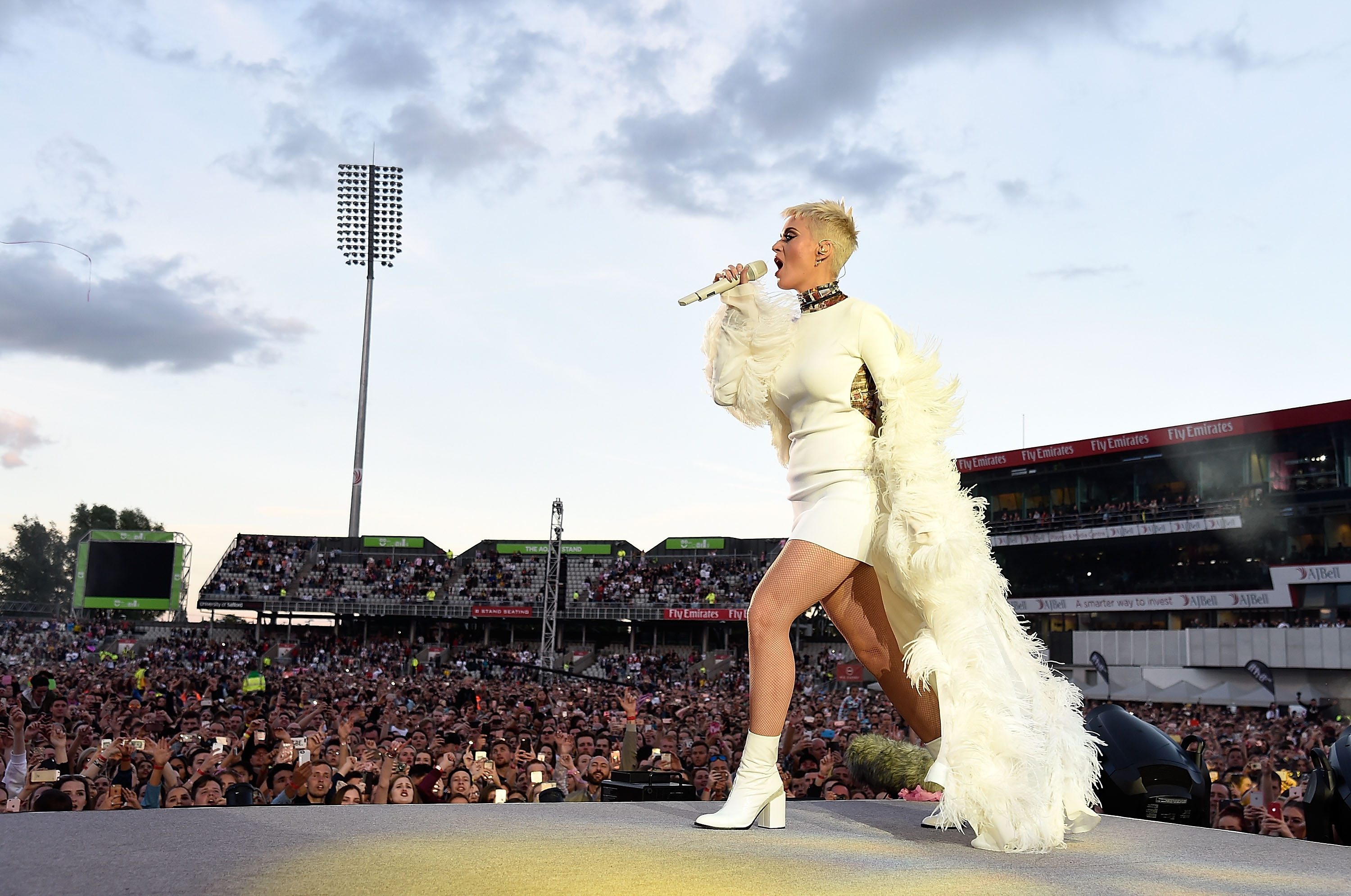 Katy Perry performs on stage during the One Love Manchester Benefit Concert at Old Trafford Cricket Ground on June 4, 2017 in Manchester, England.