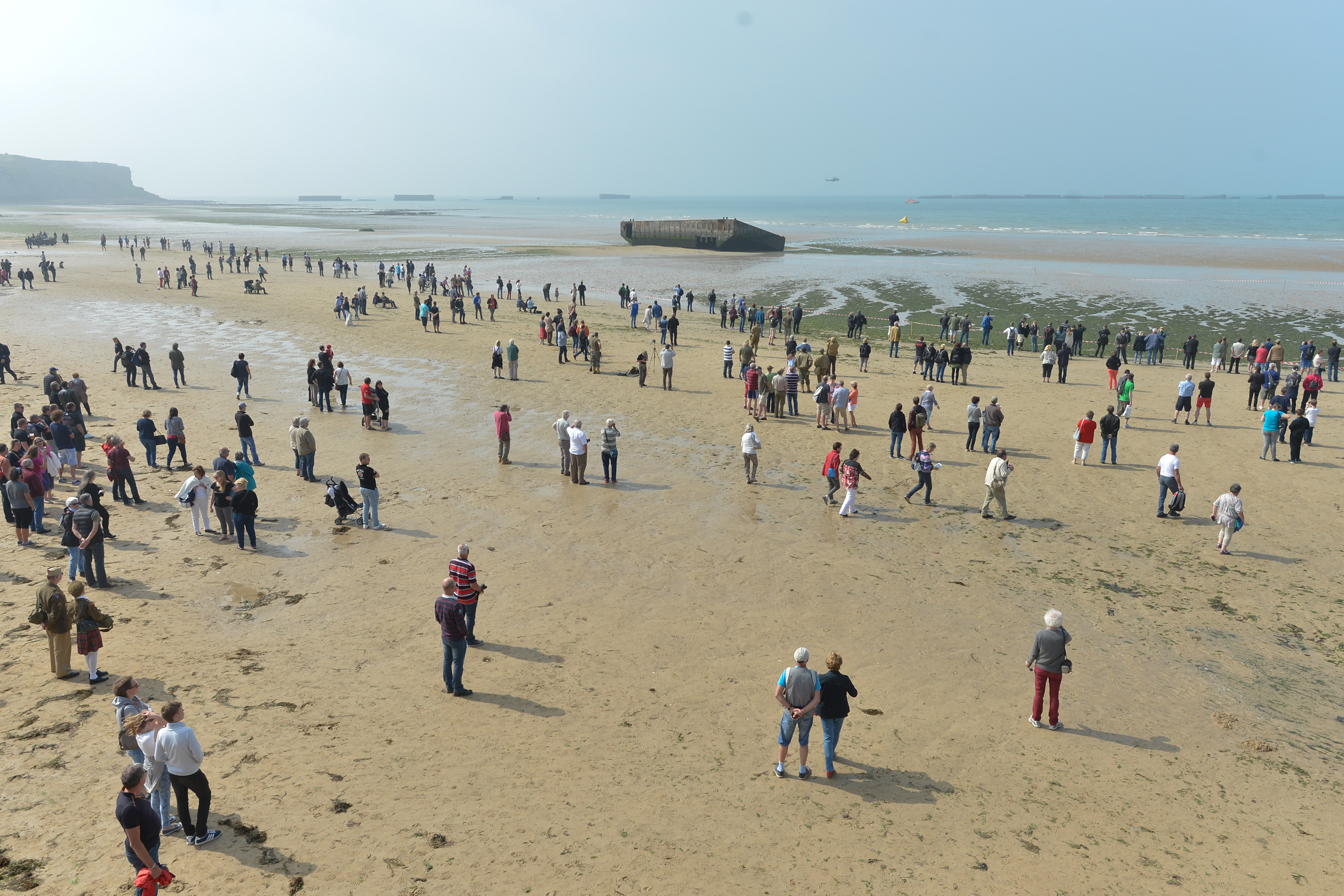 Thousands of spectators travelled to Arromanches to watch the Airshow and the Rescue demonstration, on the 72th Anniversary of D-Day in Arromanches, France on June 6, 2016.