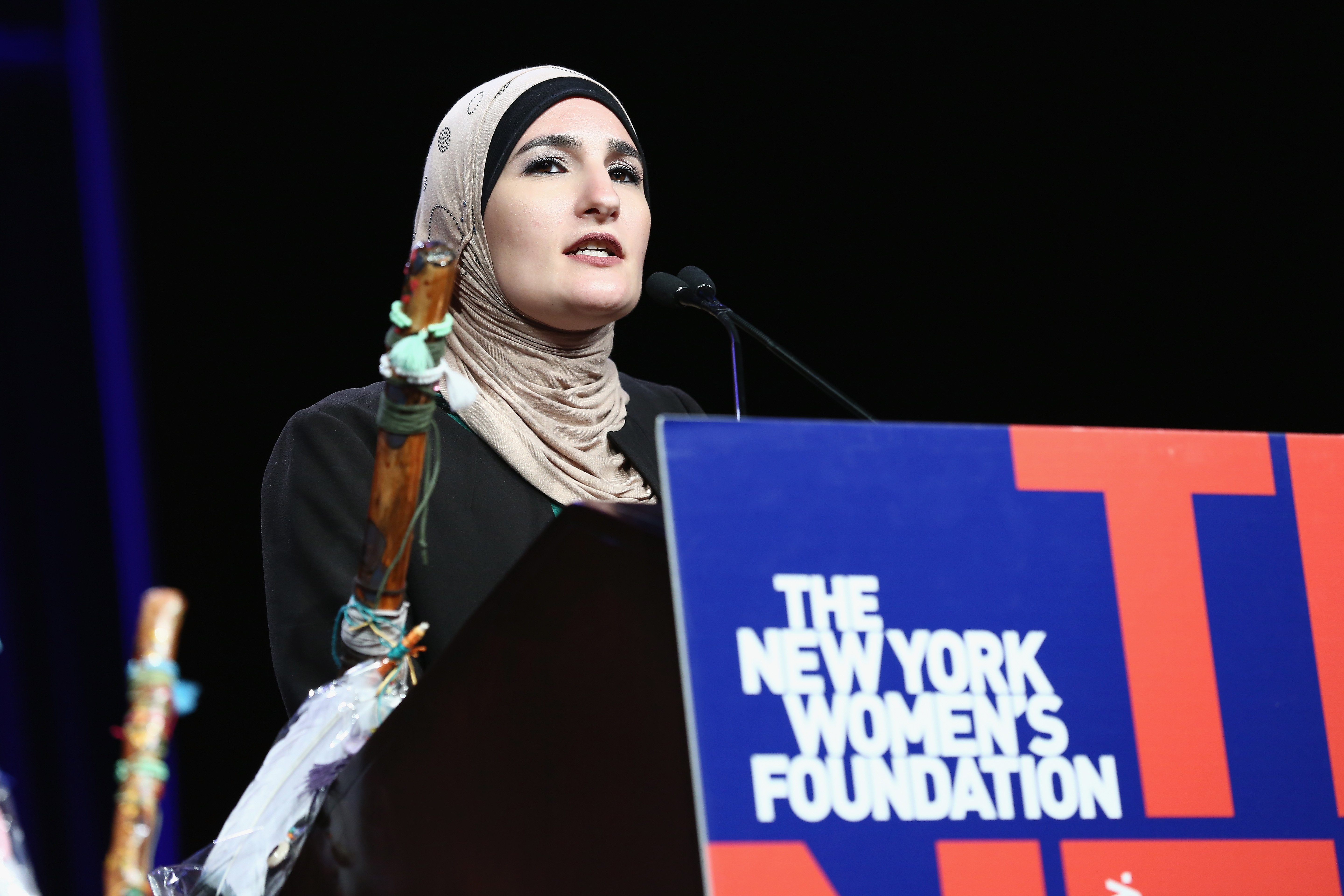 Linda Sarsour speaks onstage during the 30th Anniversary Celebrating Women Breakfast at Marriott Marquis Hotel on May 11, 2017 in New York City.