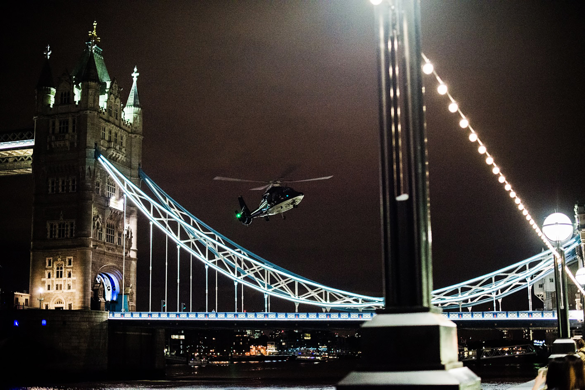 An emergency response helicopter lands on London Bridge, on June 03, 2017.