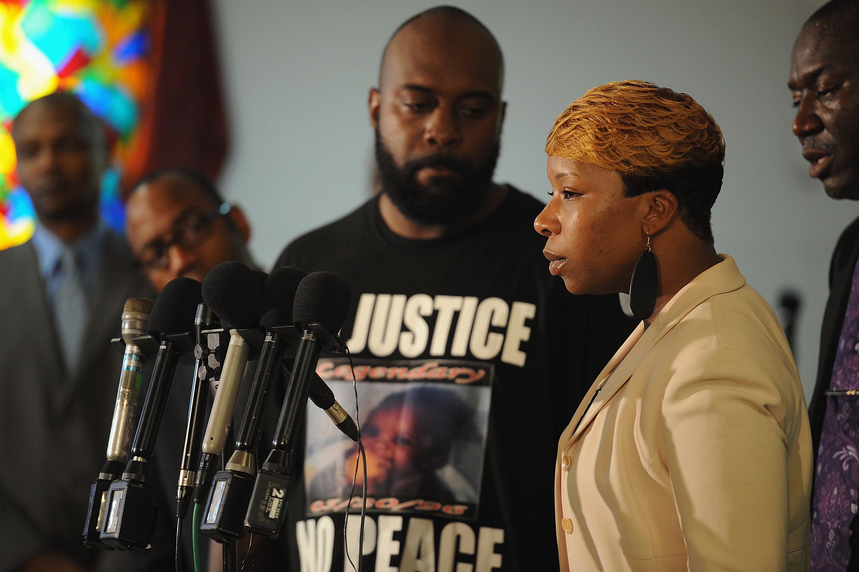 Lesley McSpadden, mother of slain 18 year-old Michael Brown speaks during a press conference at Jennings Mason Temple Church of God In Christ, on August 11, 2014 in Jennings, Missouri.