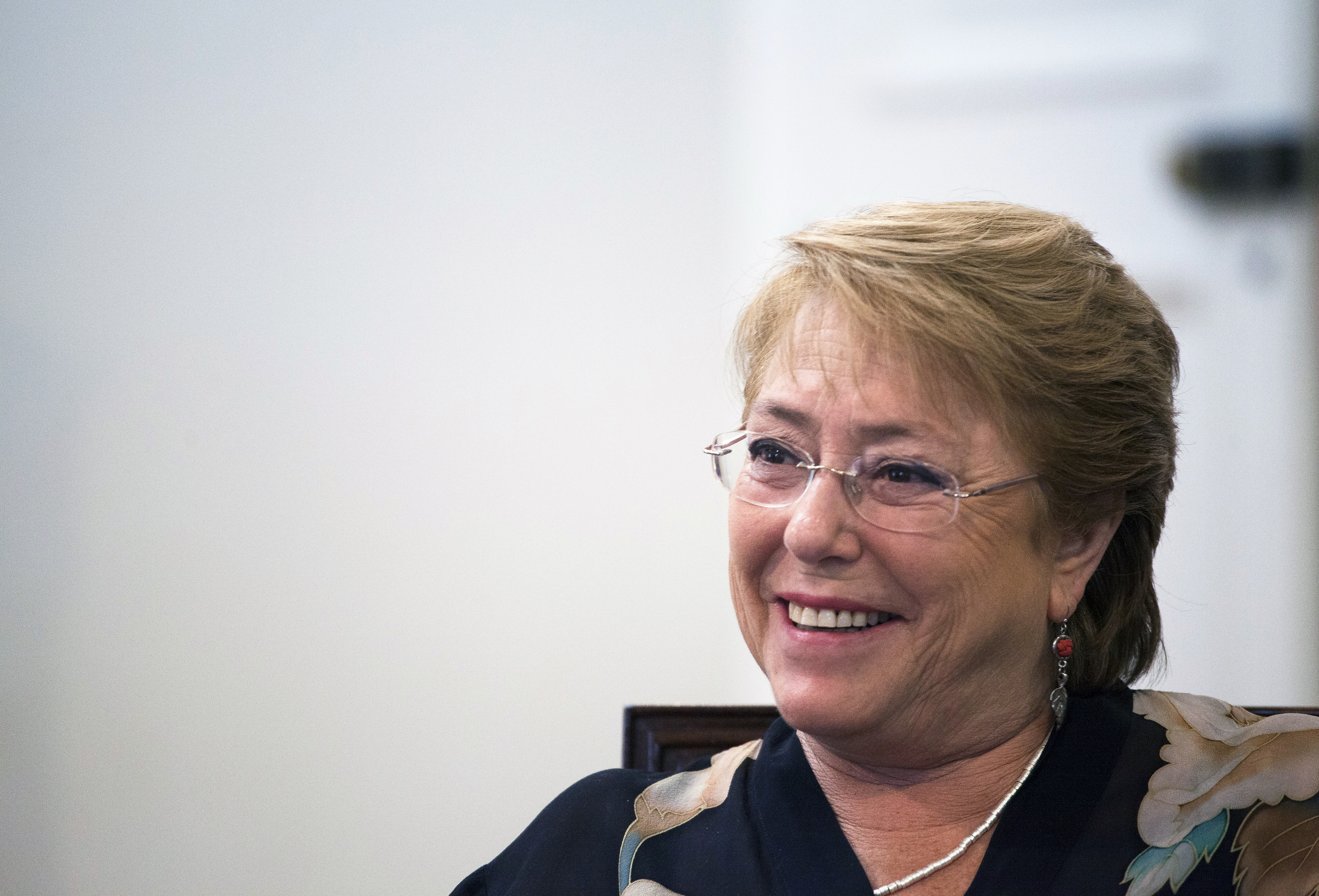 Michelle Bachelet, president of Chile, smiles during an interview at La Moneda Palace in Santiago, Chile, on Friday, Jan. 20, 2017.