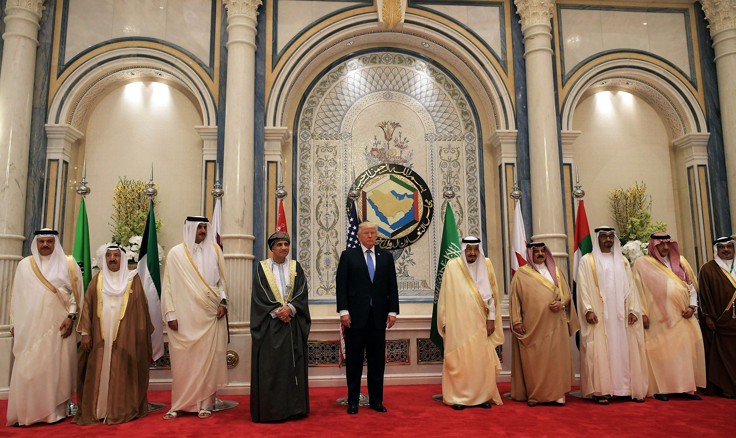President Donald Trump and Saudi's King Salman bin Abdulaziz al-Saud pose for a picture with leaders of the Gulf Cooperation Council in Riyadh on May 21, 2017.