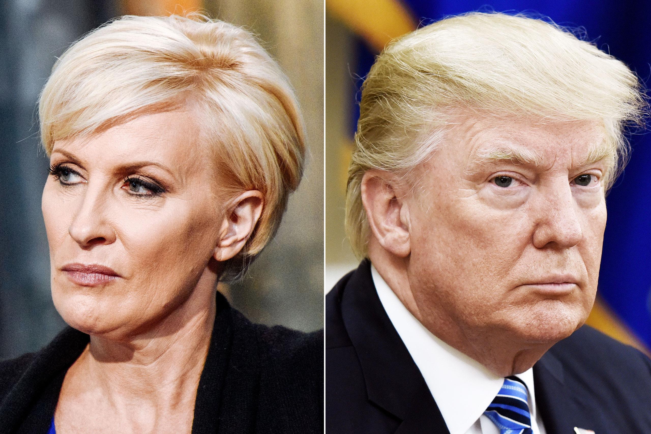 Mika Brzezinski in New York City on August 12, 2015 (L); Donald Trump in Washington, DC, on June 30, 2017.
