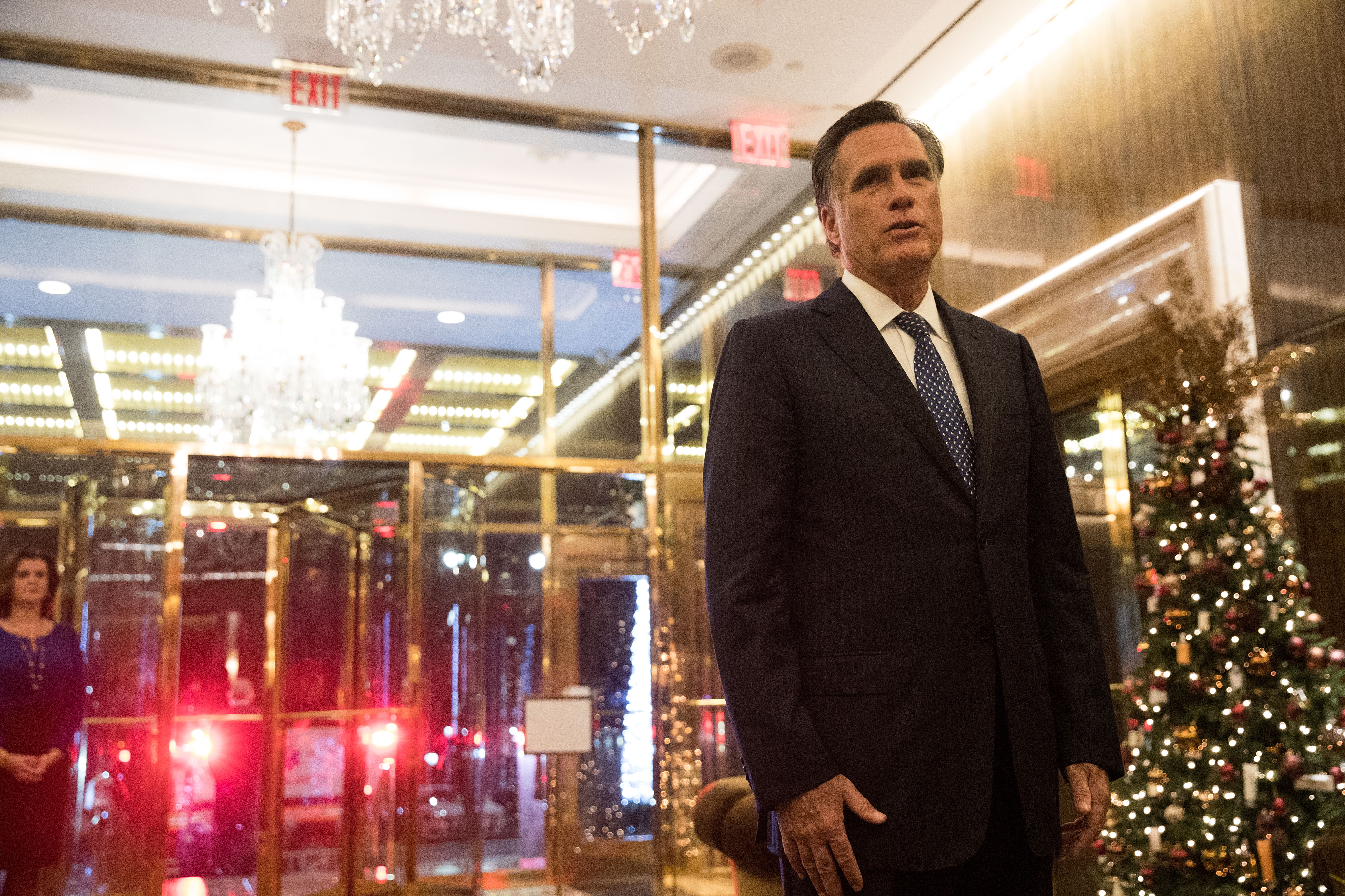 Mitt Romney speaks to reporters after dining with President-elect Donald Trump at Jean Georges restaurant, November 29, 2016 in New York City.