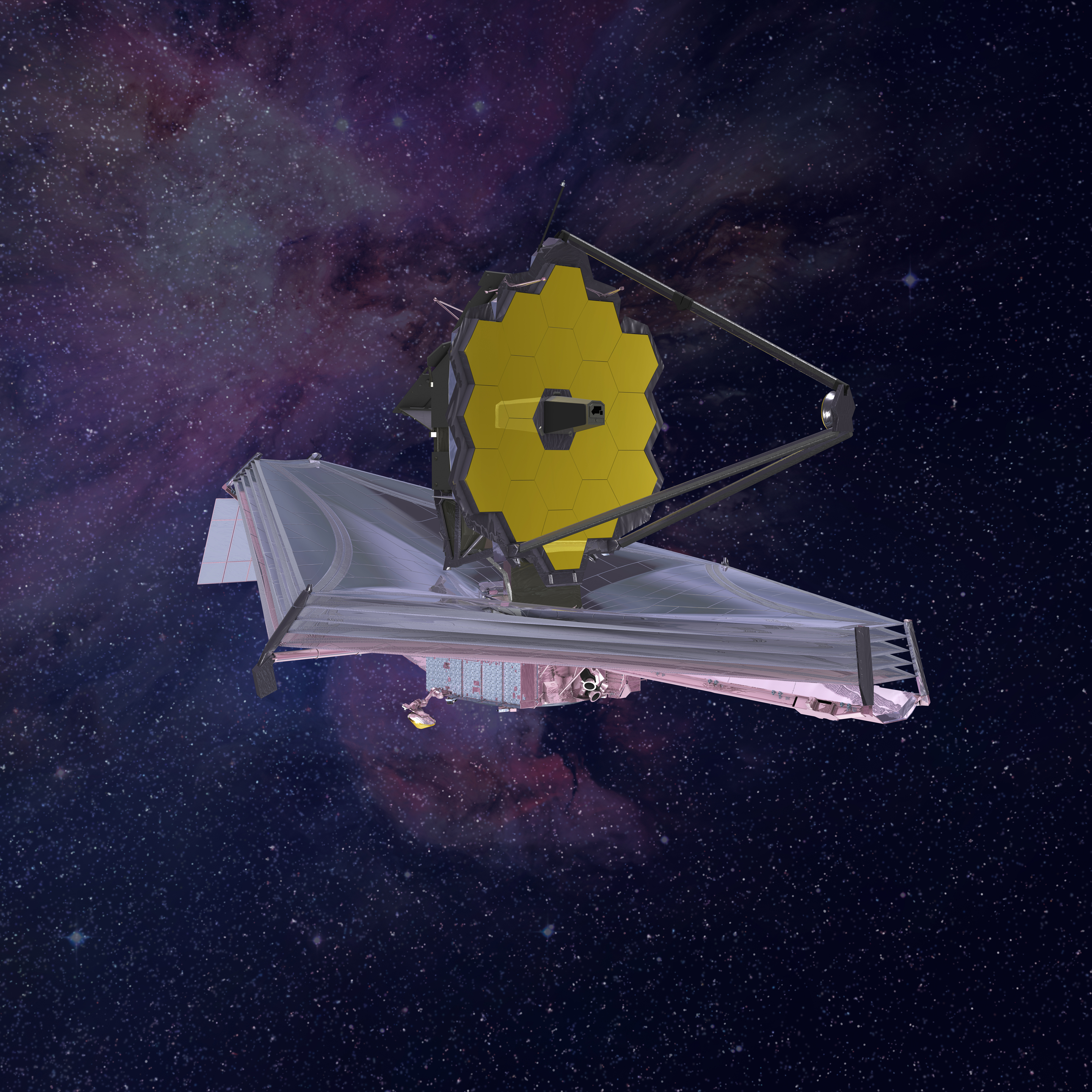 An artist rendering of the James Webb Space Telescope.