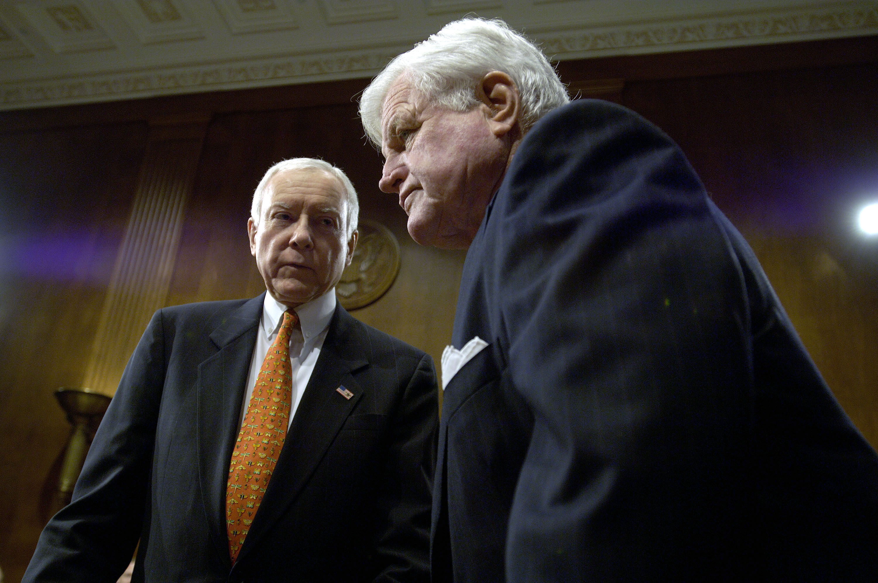 Senator Orrin G. Hatch (R-UT), left, and Senator Edward Kennedy (D-MA), confer prior to the Senate Judiciary Committee Markup to vote on the nomination of Judge Samuel Alito to the U.S. Supreme Court on Jan. 24, 2006 in Washington, D.C.