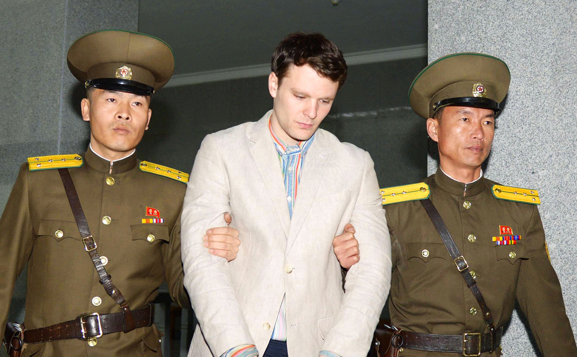 Otto Warmbier is taken to North Korea's top court in Pyongyang, on March 16, 2016.