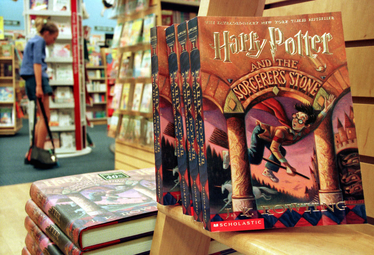 Copies of author J. K. Rowling's Harry Potter series story books sit in a bookstore July 6, 2000 in Arlington, Va.