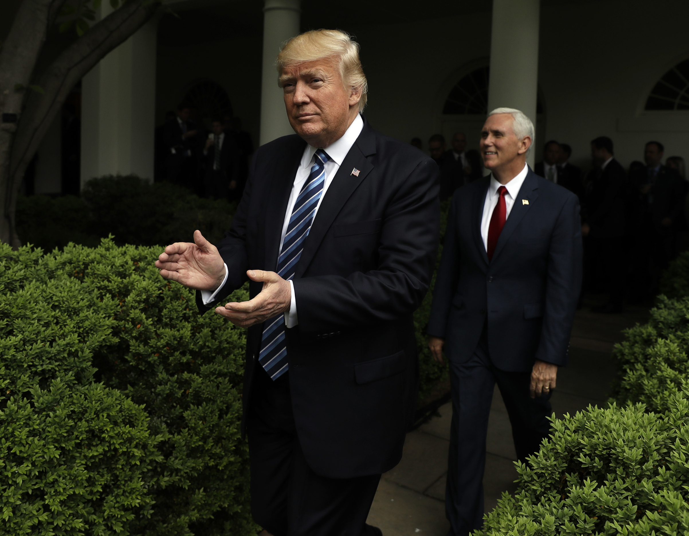 President Trump celebrates after House Republicans passed a bill to repeal Obamacare in 2017.
