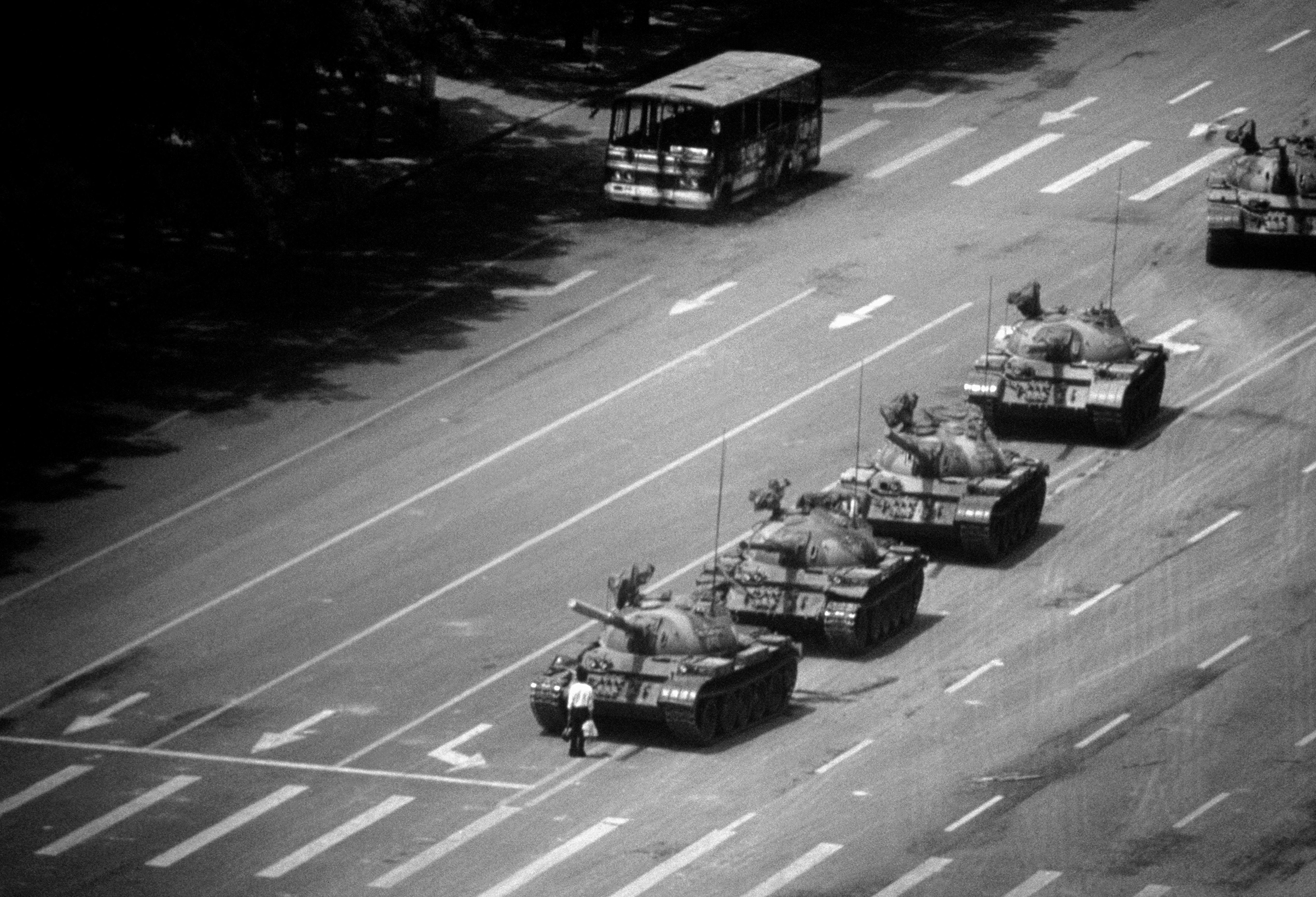 'The Tank Man' in Tiananmen Square. Beijing, June 4, 1989.