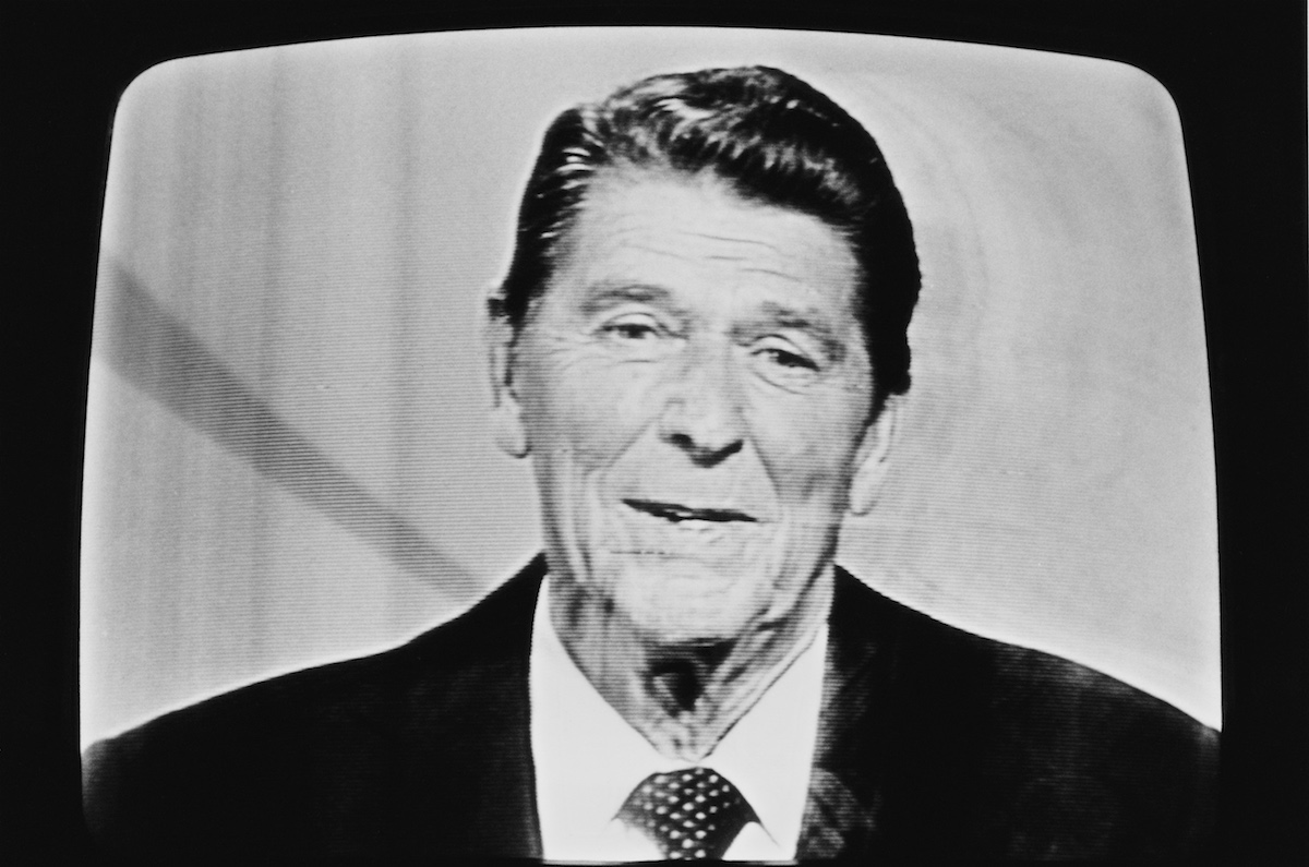 American actor and politician, Ronald Reagan (1911 - 2004), broadcasting on television prior to the Presidential elections, USA, October 1980.