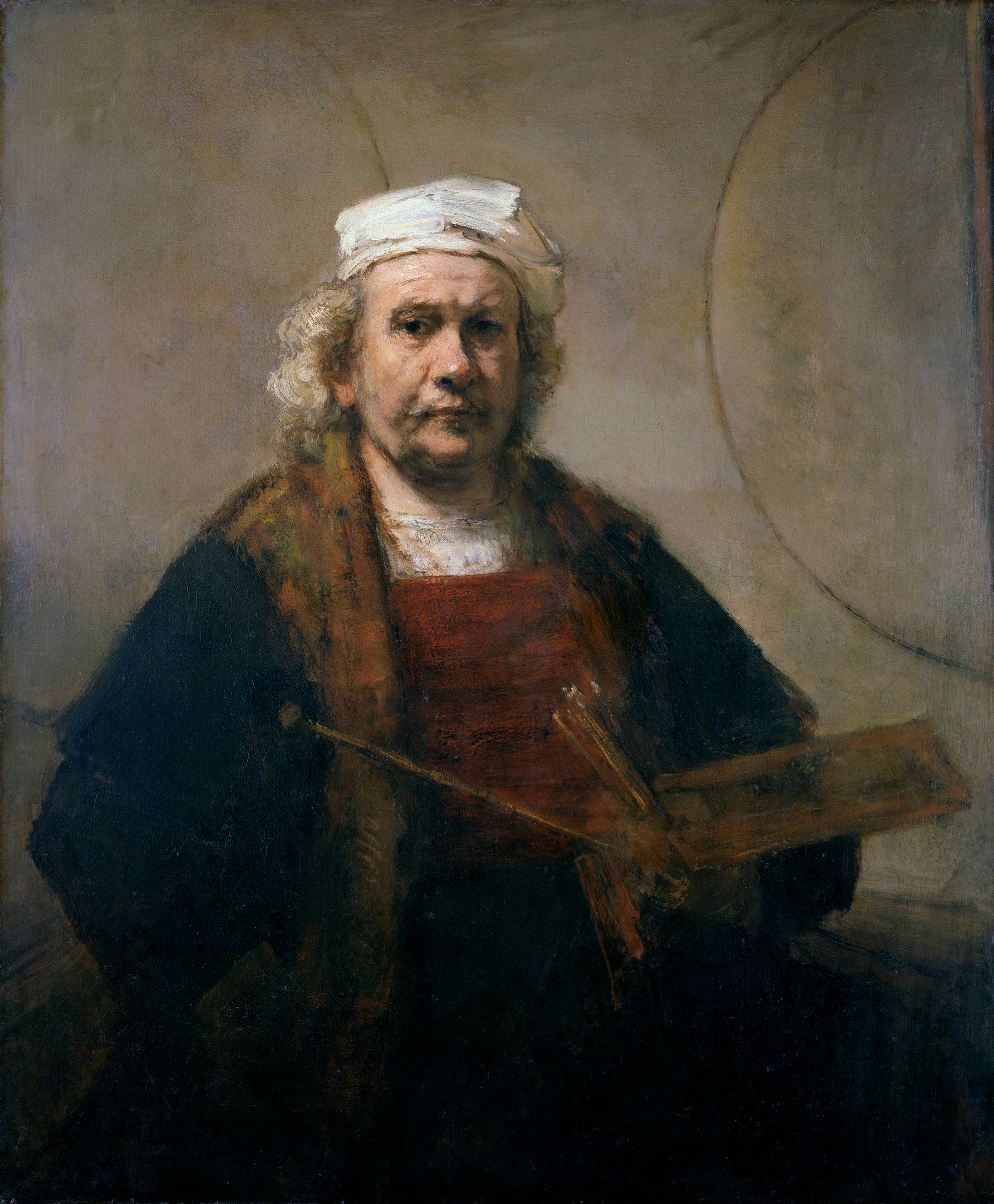 Rembrandt van Rijn, Self-Portrait with Two Circles. C. 1665-69.