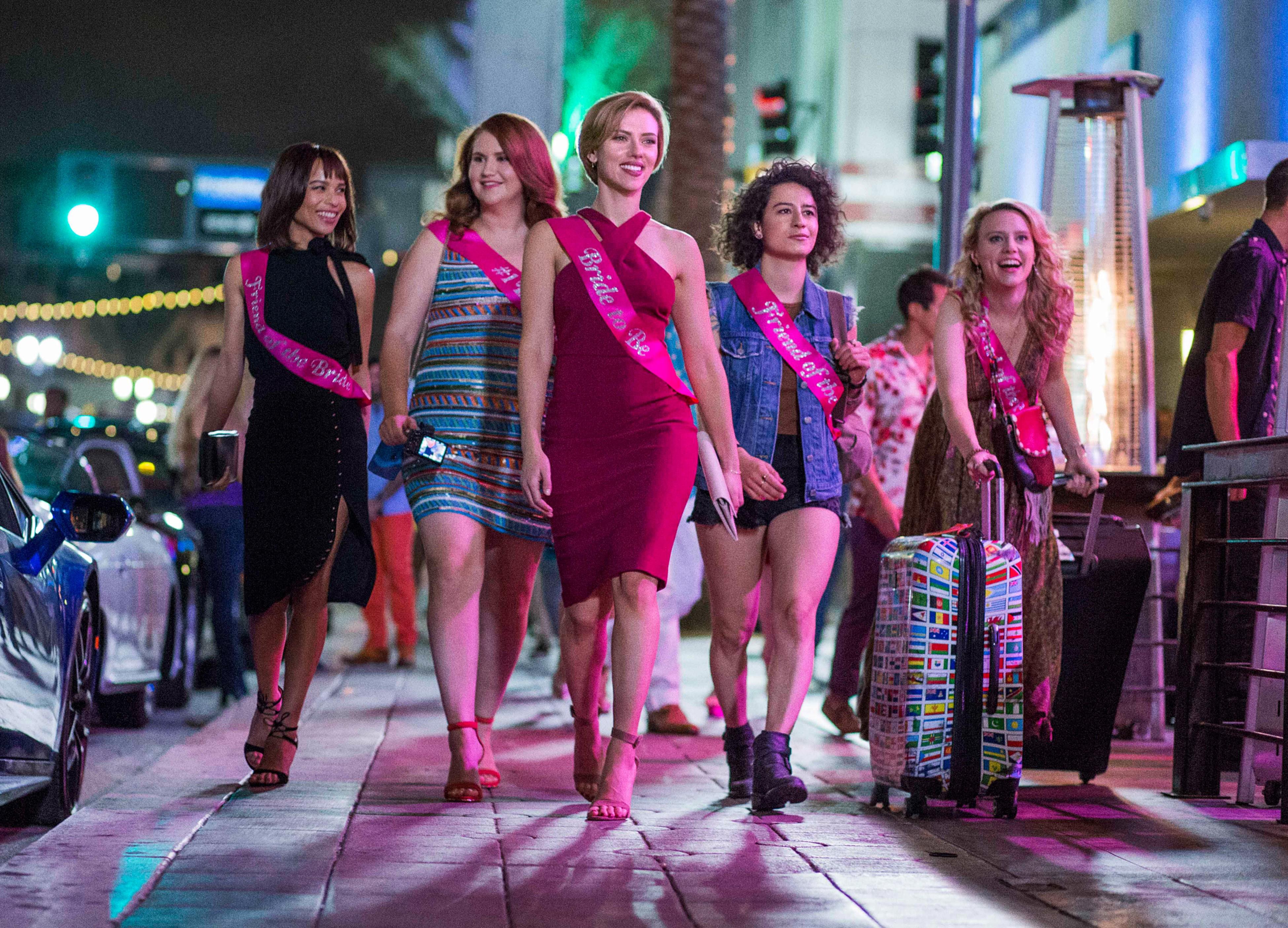 ROUGH NIGHT, from left: Zoe Kravitz, Jillian Bell, Scarlett Johansson, Ilana Glazer, Kate McKinnon, 2017.