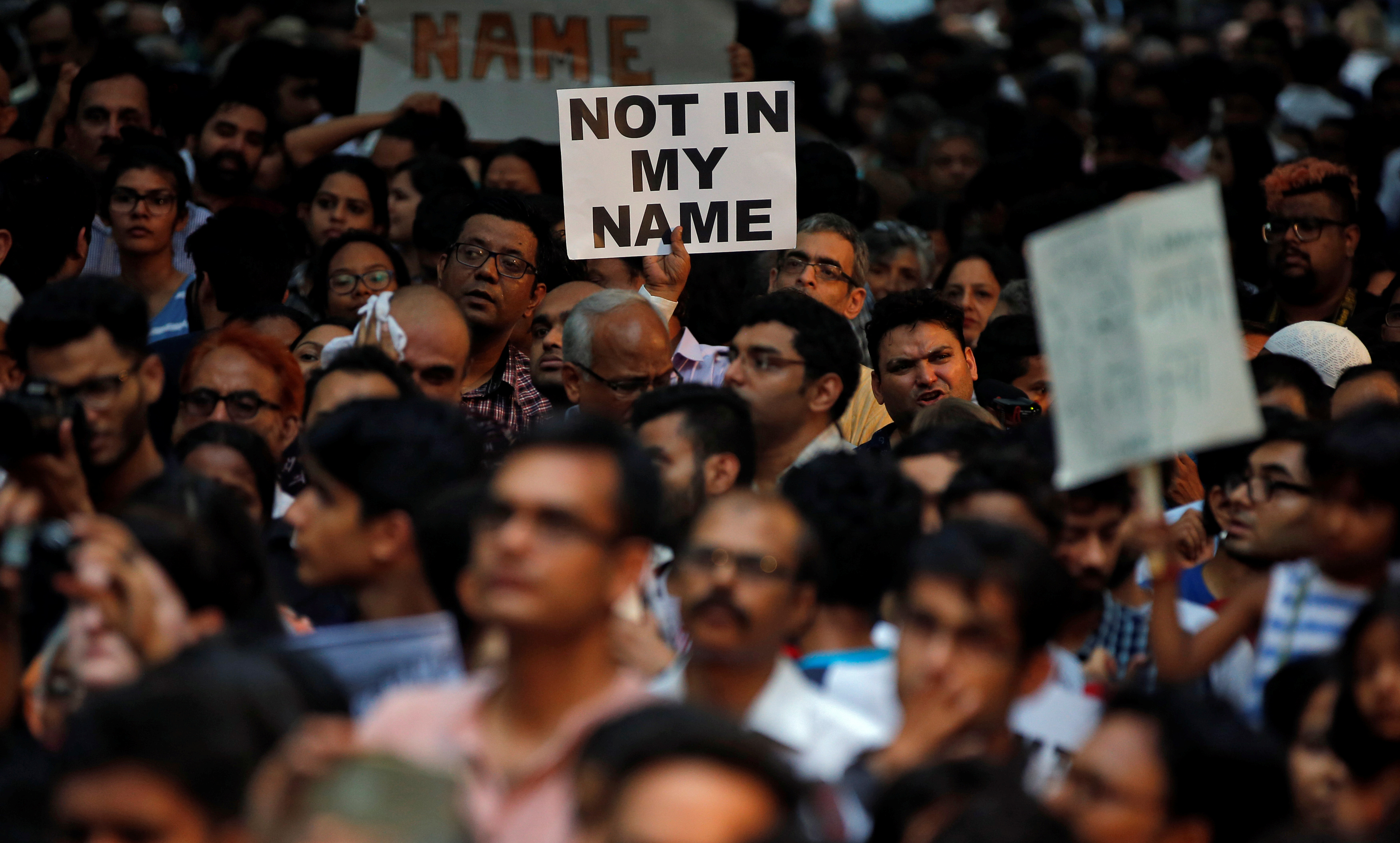 People protest against the recent cases of mob lynching of Muslims who were accused of possessing beef, in New Delhi, India, June 28, 2017.