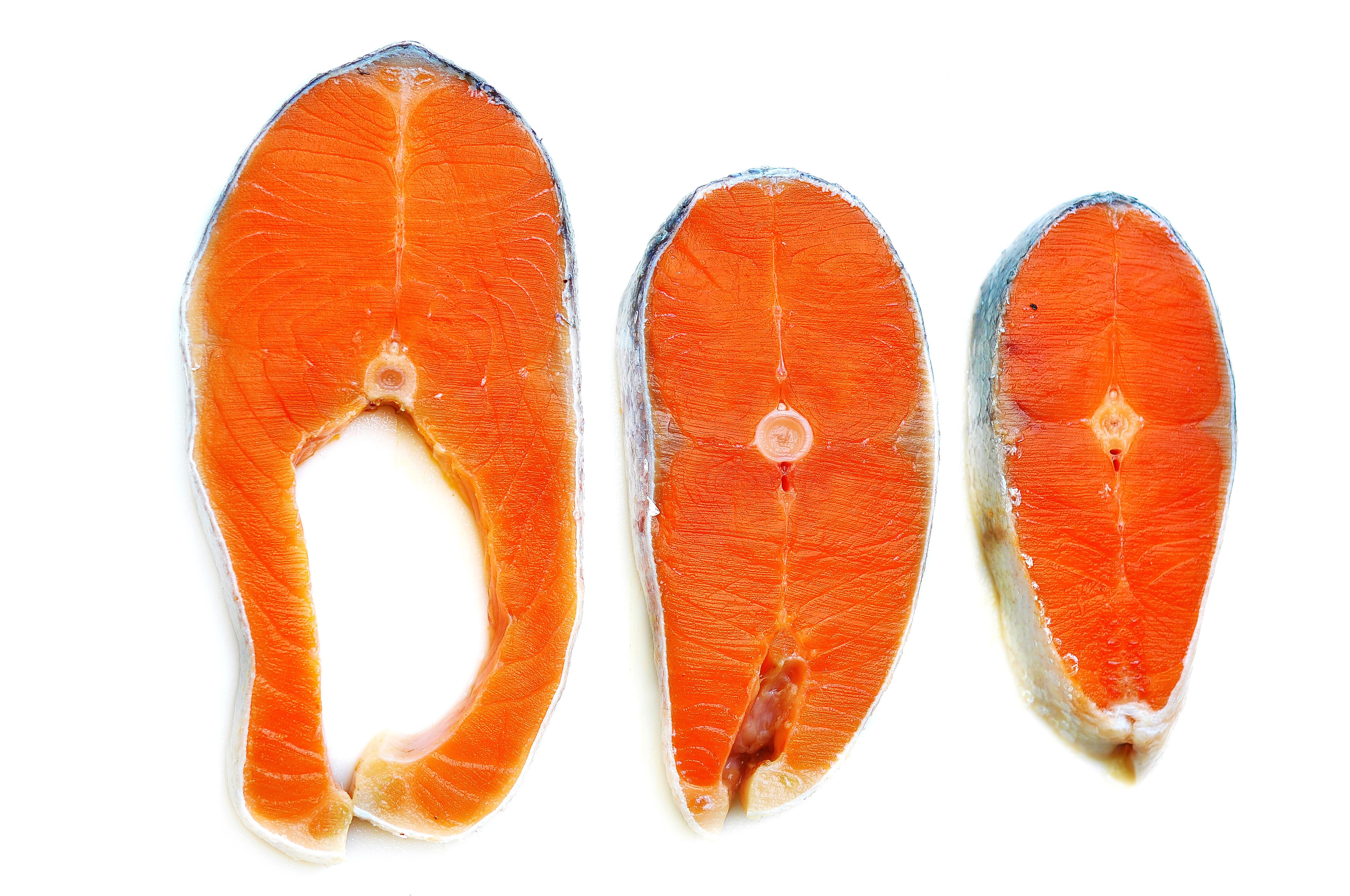 Fresh and healthy Norwegian salmon cut.,