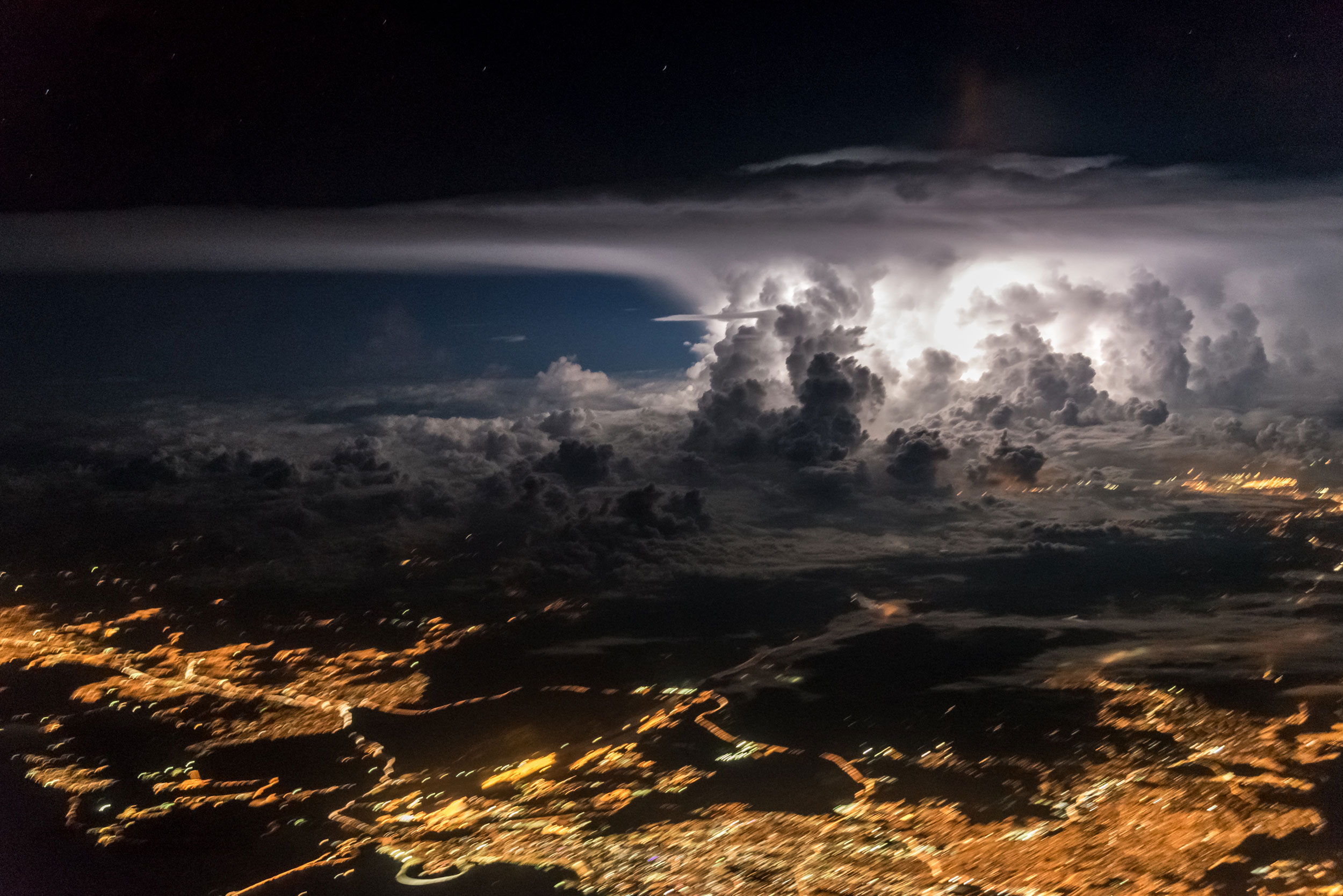 A strong supercell is flashing near the coast of Panama City where both Pacific and Atlantic oceans meet and create the perfect scenario for storms.