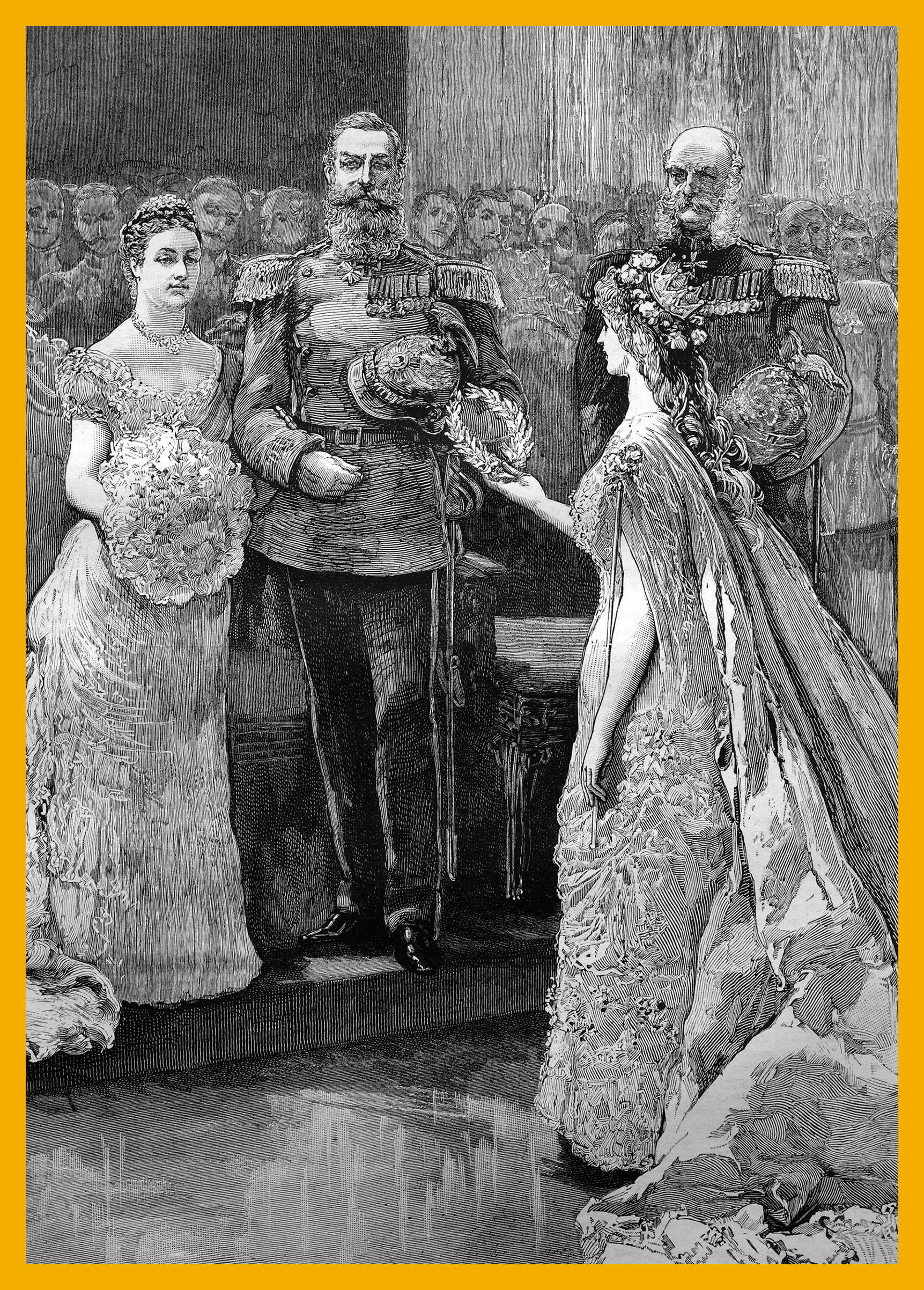 The silver wedding of the imperial prince and princess of Germany, the koenigin minne  or  queen of love  presenting a silver wreath to the imperial princess, historical illustration, 1884.