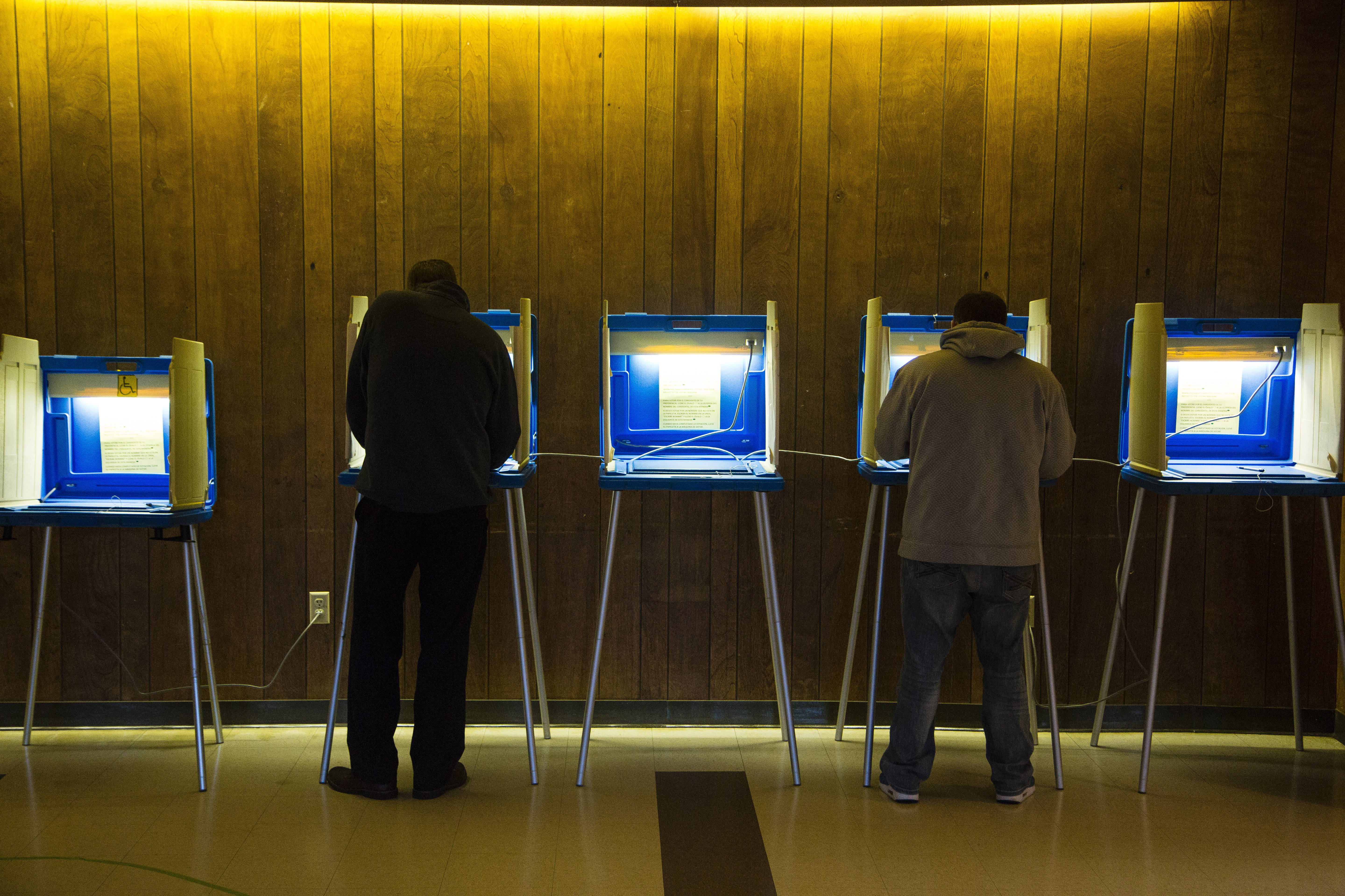 Voters cast their ballot in the national election at Cannon Pavilion on Nov. 8, 2016 in Milwaukee, Wisconsin.