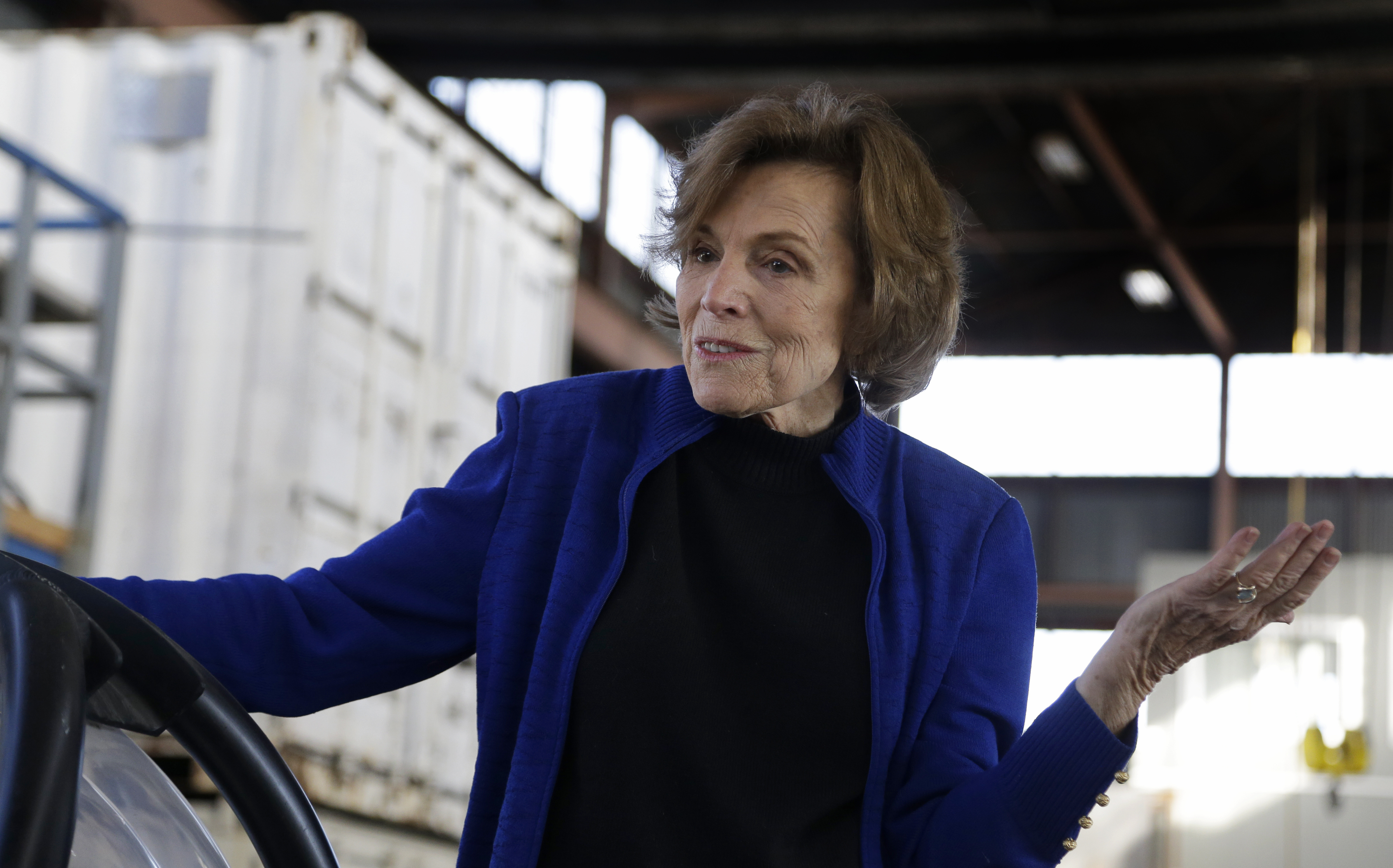 Dr. Sylvia Earle gestures while speaking at Deep Ocean Exploration and Research Marine in Alameda, CA, on Dec.19, 2016.