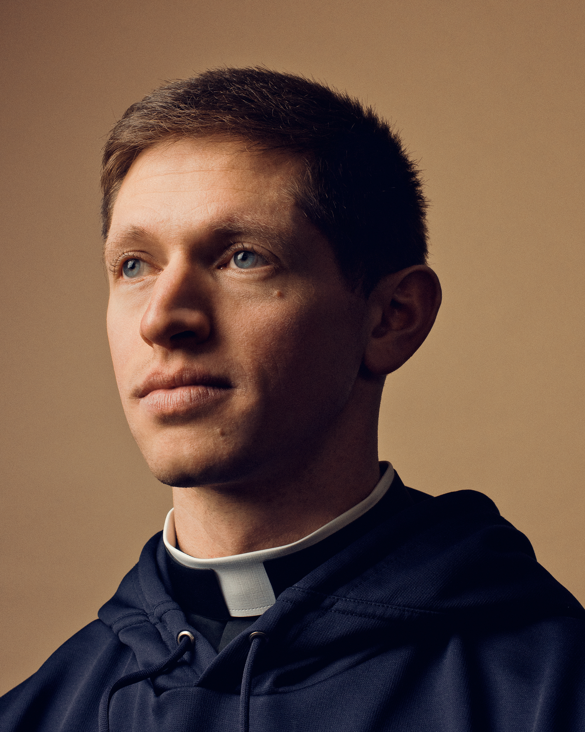 Parochial vicar of Our Lady of Mercy Church in Potomac, Md., Father Chris Seith, 28, admires the simple life that Pope Francis praises
