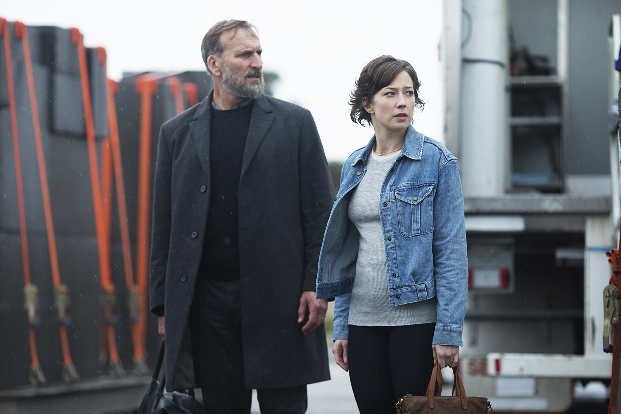 Christopher Eccleston and Carrie Coon in The Leftovers.