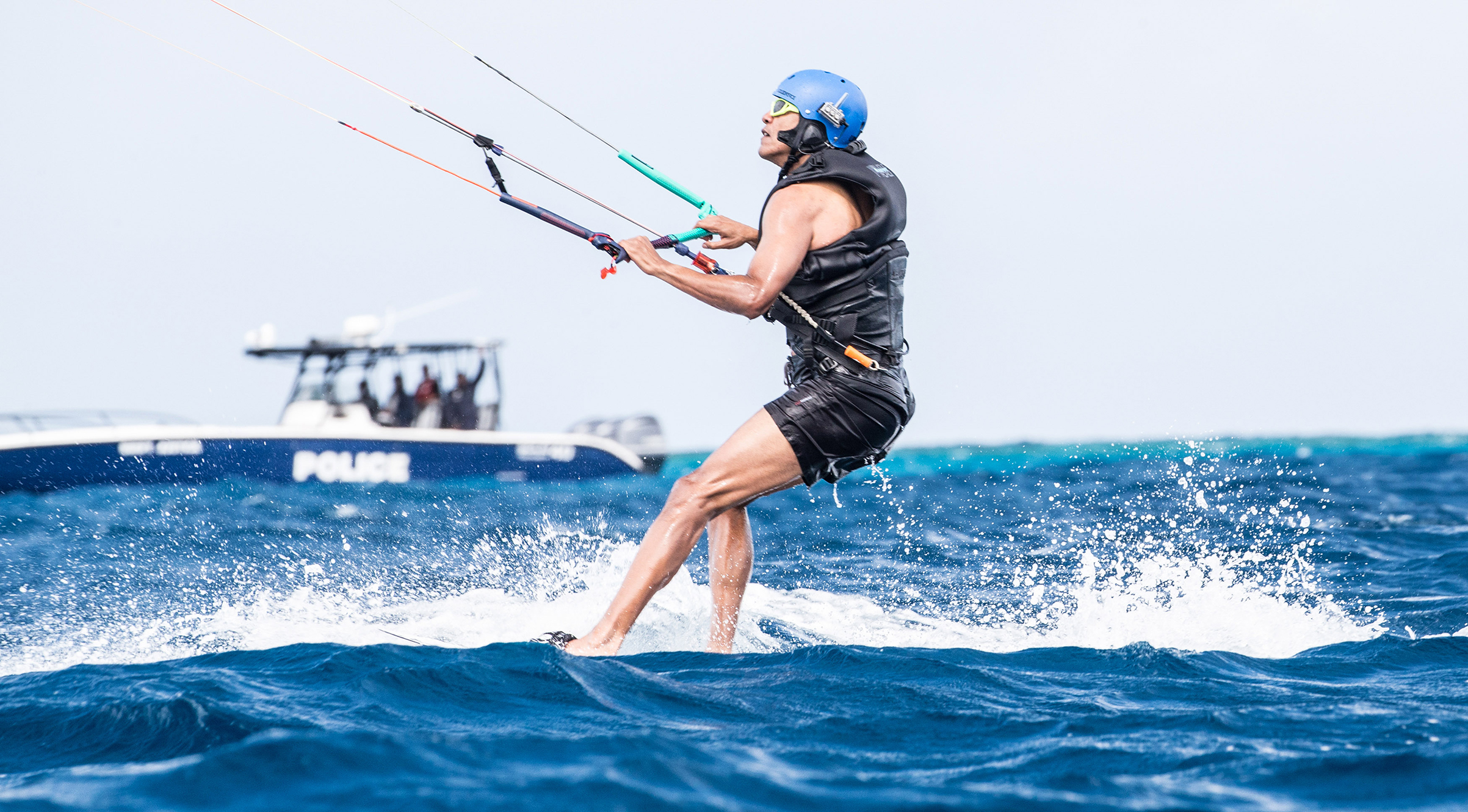 Former President Barack Obama kitesurfs at Richard Branson's Necker Island retreat on January 29, 2017 in the British Virgin Islands.