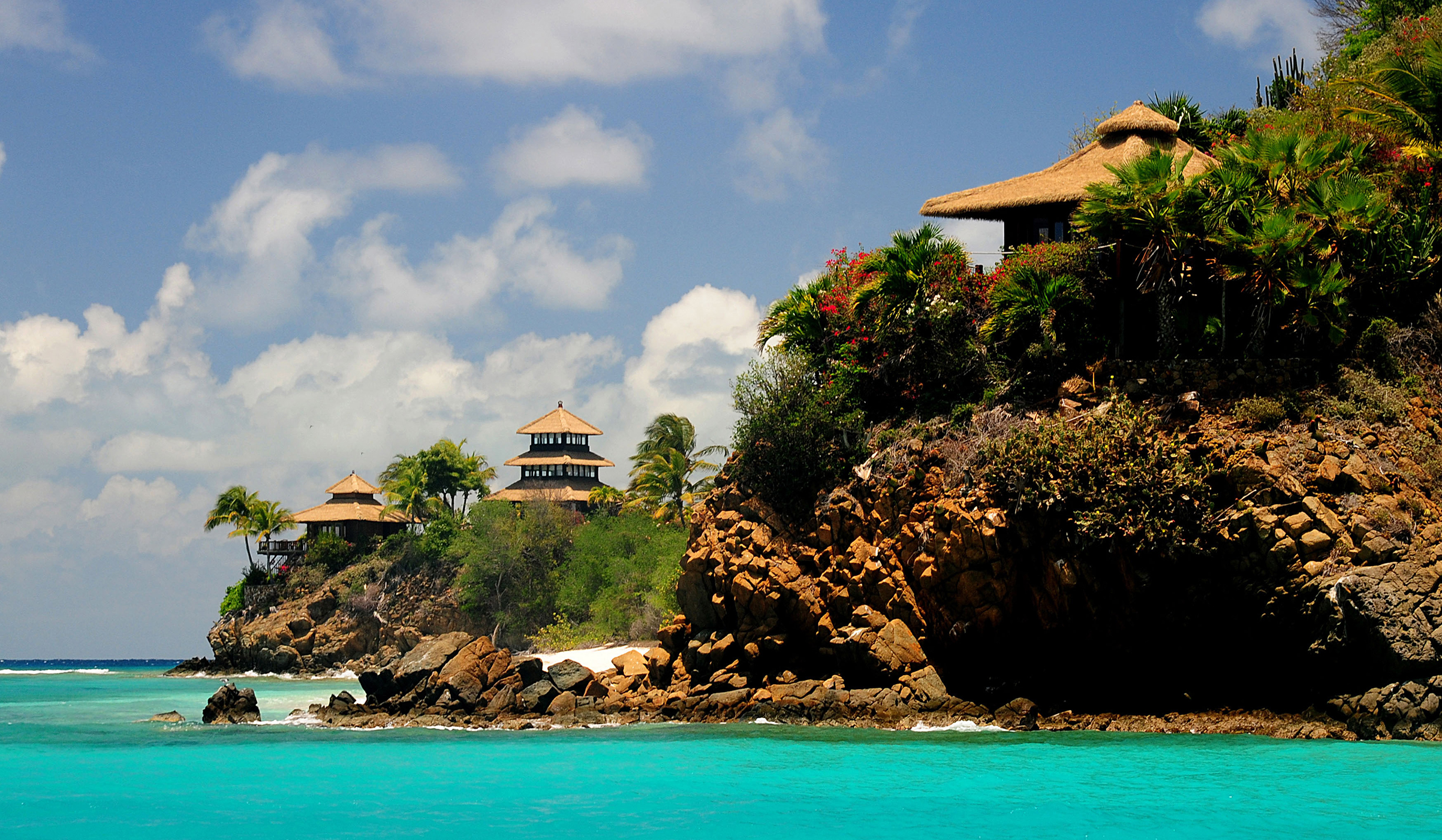 Buildings line the shore of Necker Island in the British Virgin Islands, May 17, 2013.