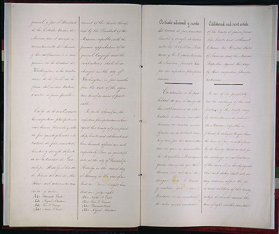 The Treaty Guadalupe Hidalgo, 1848.