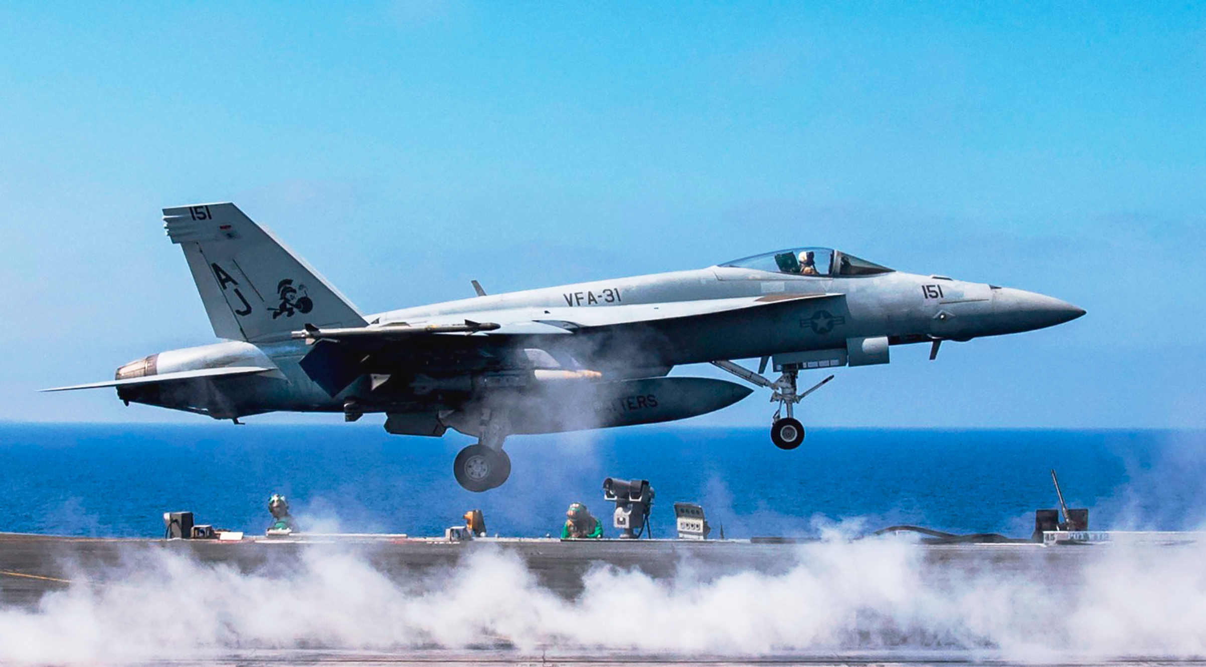 An F/A-18 Super Hornet launches from the U.S.S. George H.W. Bush, operating off the coast of Syria on June 6