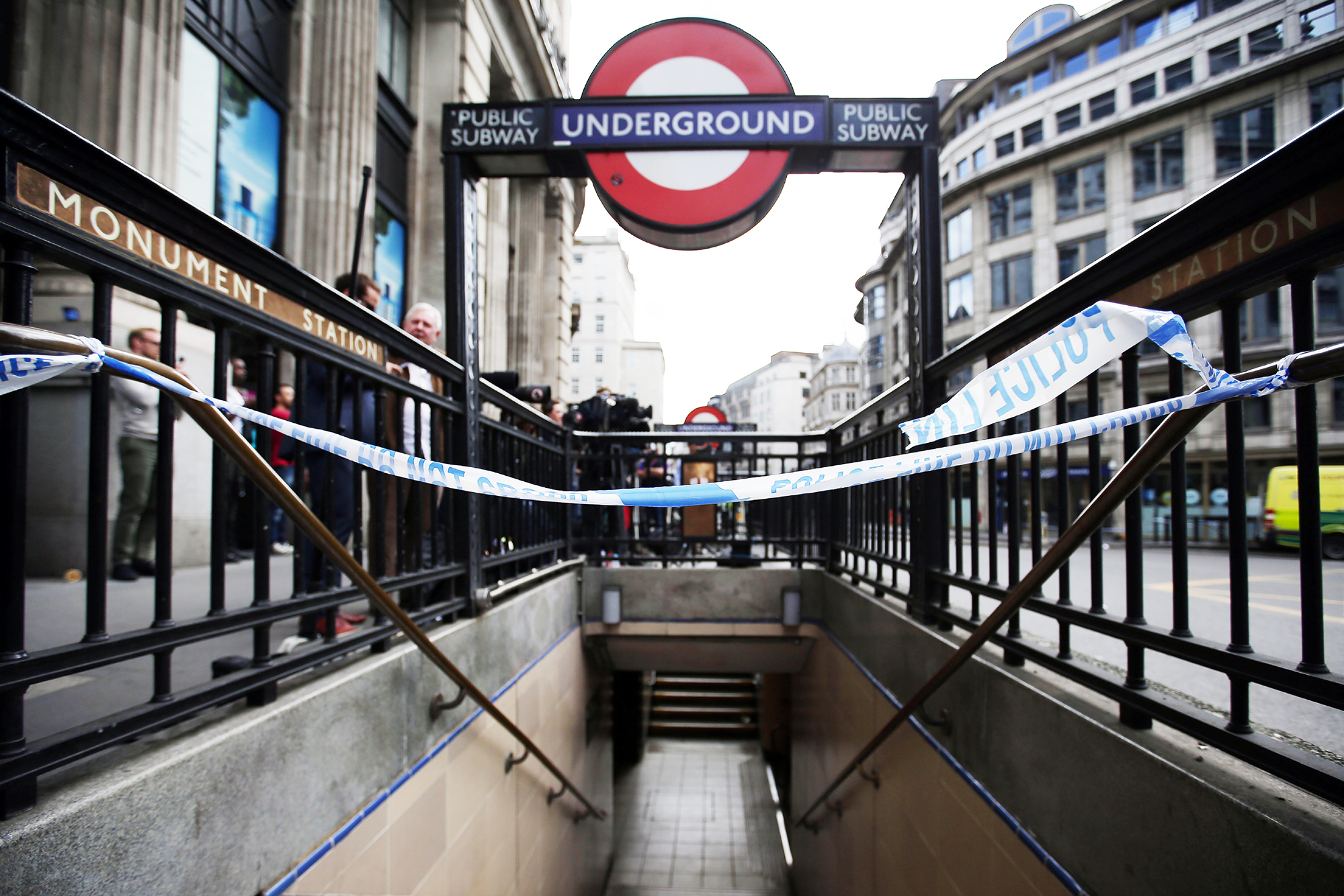 Monument Underground station, near London Bridge is closed in London on June 4, 2017, as police continue their investigations following the June 3 terror attack.