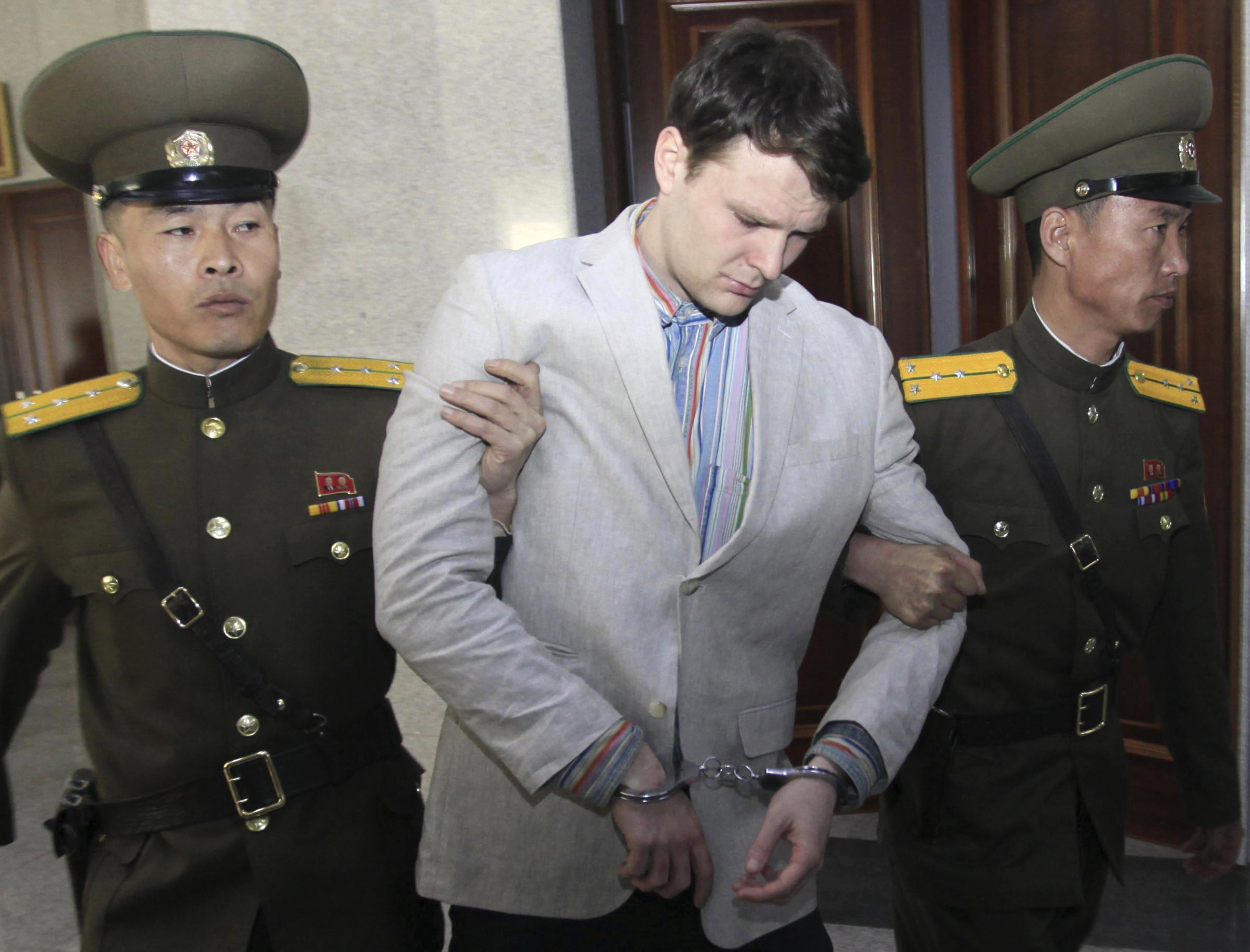 American student Otto Warmbier in Pyongyang, North Korea, on March 16, 2016.