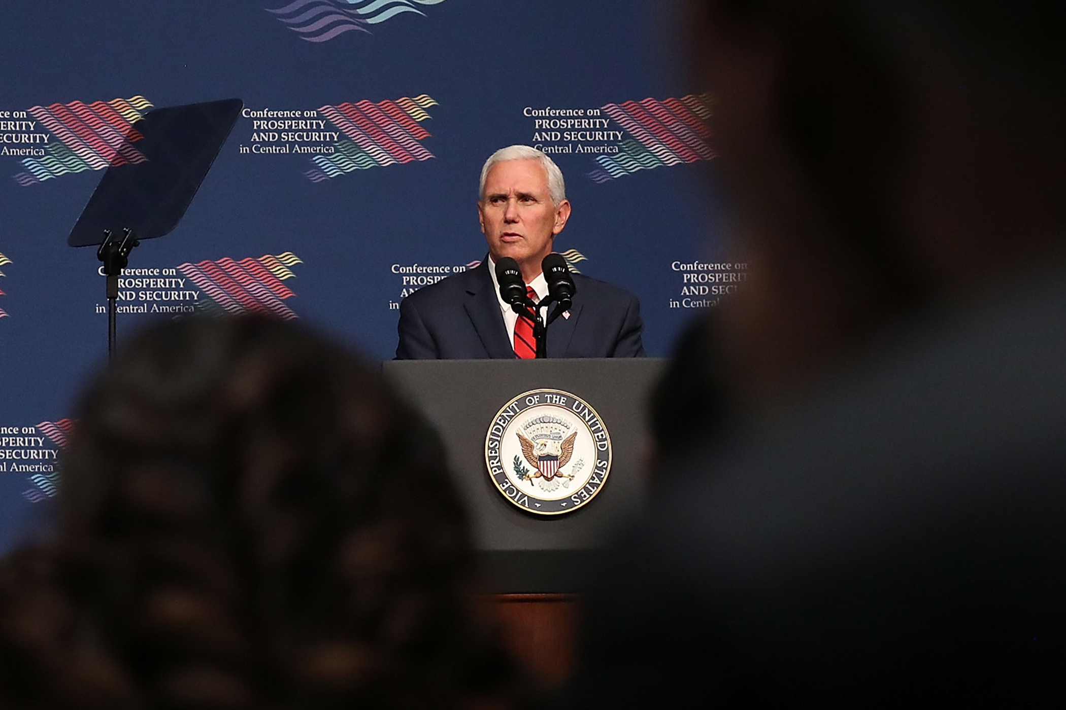 Vice President Mike Pence speaks during the Conference on Prosperity and Security in Central America at the Florida International University on June 15, 2017 in Miami, Florida. The conferance brought together government and business leaders from the United States, Mexico, Central America, and other countries to address the economic, security, and governance challenges and opportunities in El Salvador, Guatemala, and Honduras.  (Photo by Joe Raedle/Getty Images)