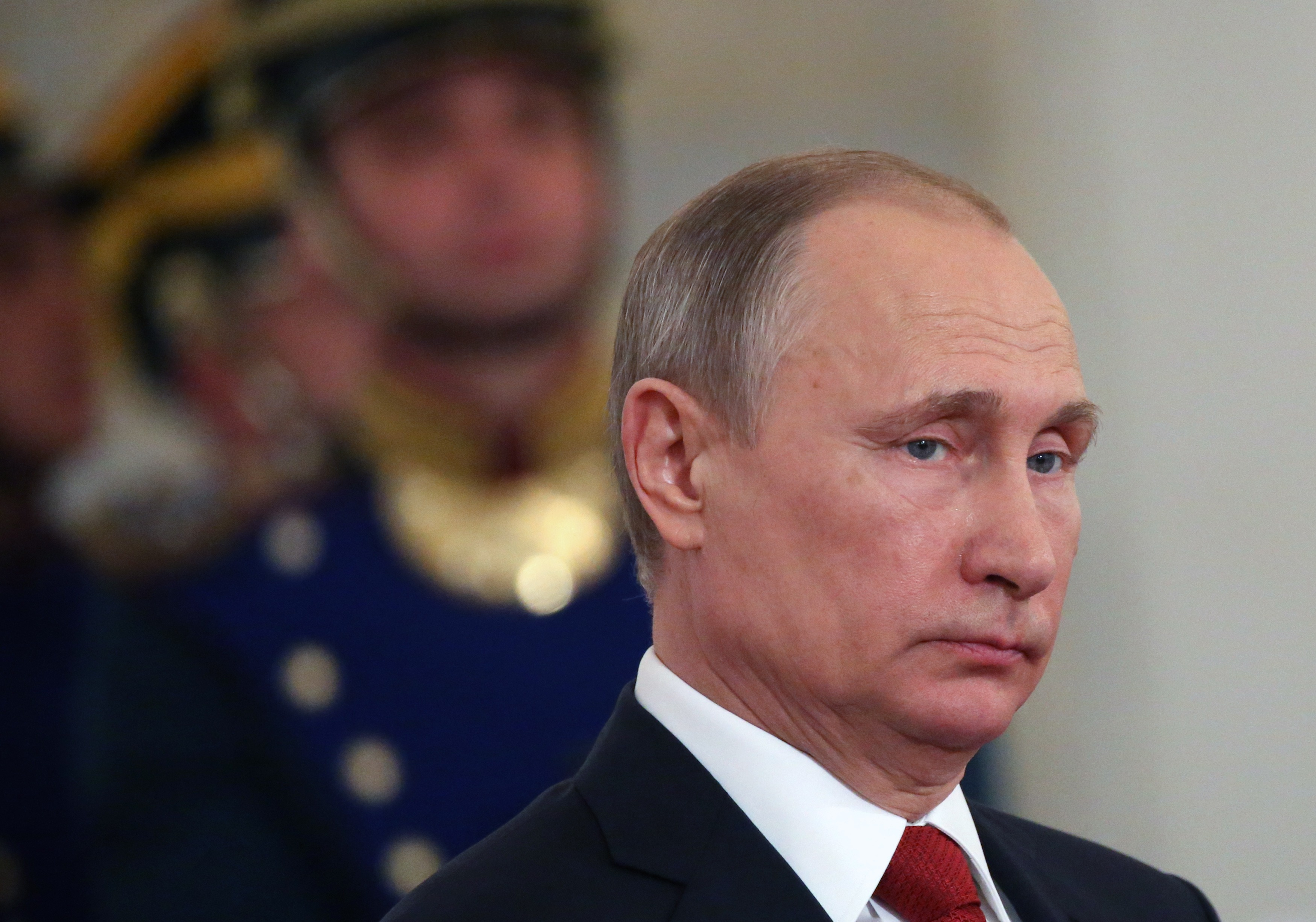 Russian President Vladimir Putin gives a speech during the state awards ceremony at the Grand Kremlin Palace on June 12, 2017 in Moscow, Russia.