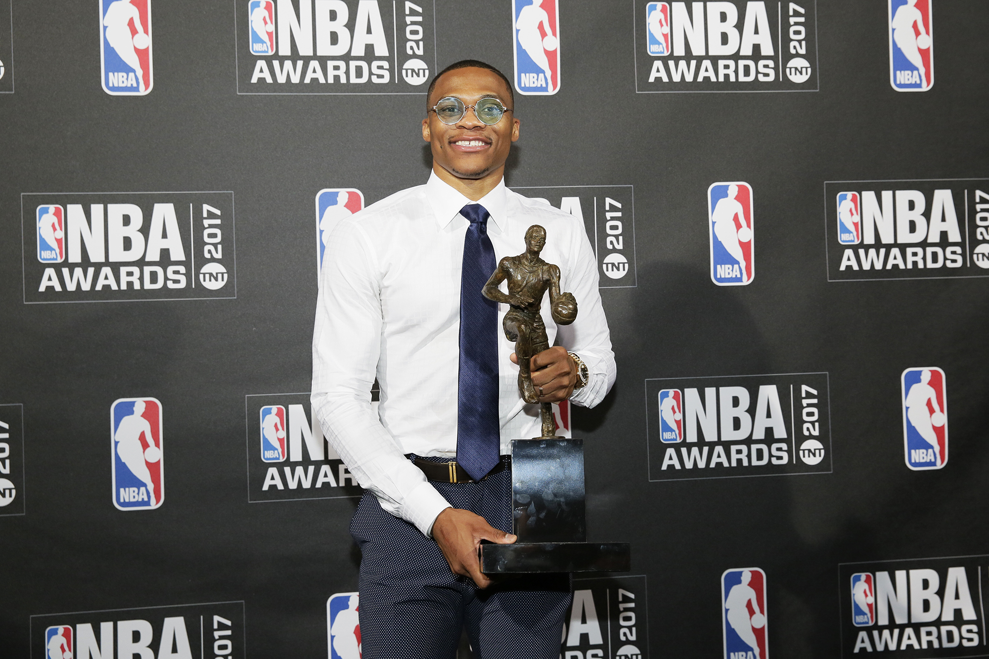 Russell Westbrook of the Oklahoma City Thunder after winning the Most Valuable Player of the Year award at the 2017 NBA Awards Show, on June 26, 2017 in New York City.