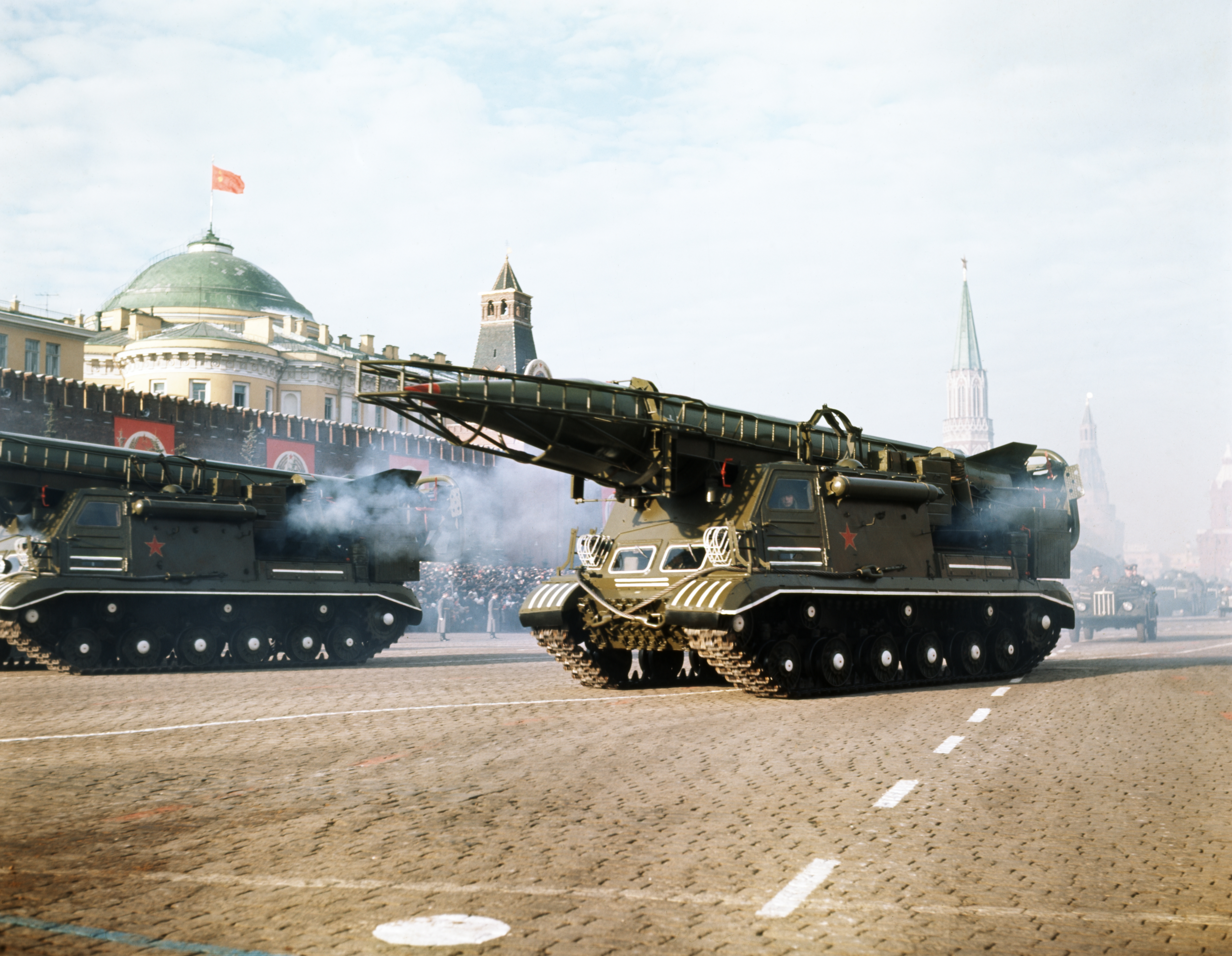Motorized ballistic missile launchers bearing Scud tactical nuclear missiles at a military parade in Red Square celebrating the anniversary of the October Revolution in Moscow, in the early 1980s.